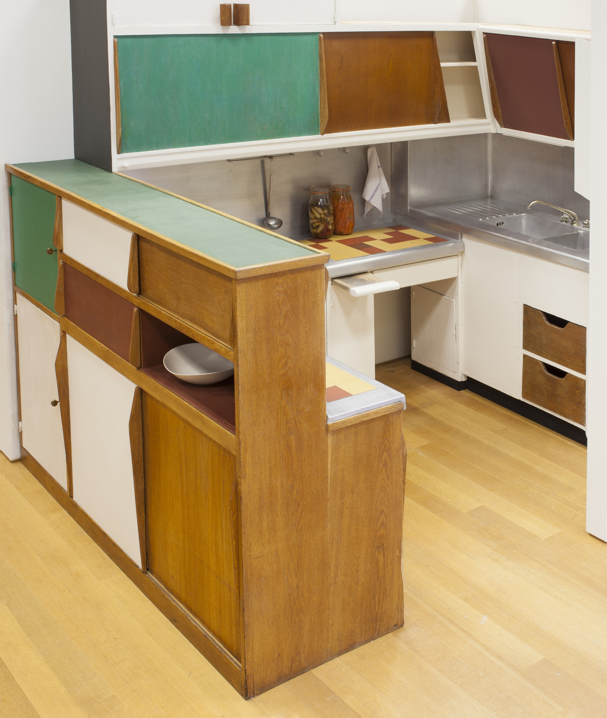 Charlotte Perriand, Le Corbusier (Charles-Édouard Jeanneret), ATBAT. Kitchen from the Unité d'Habitation, Marseille, France. c.1952