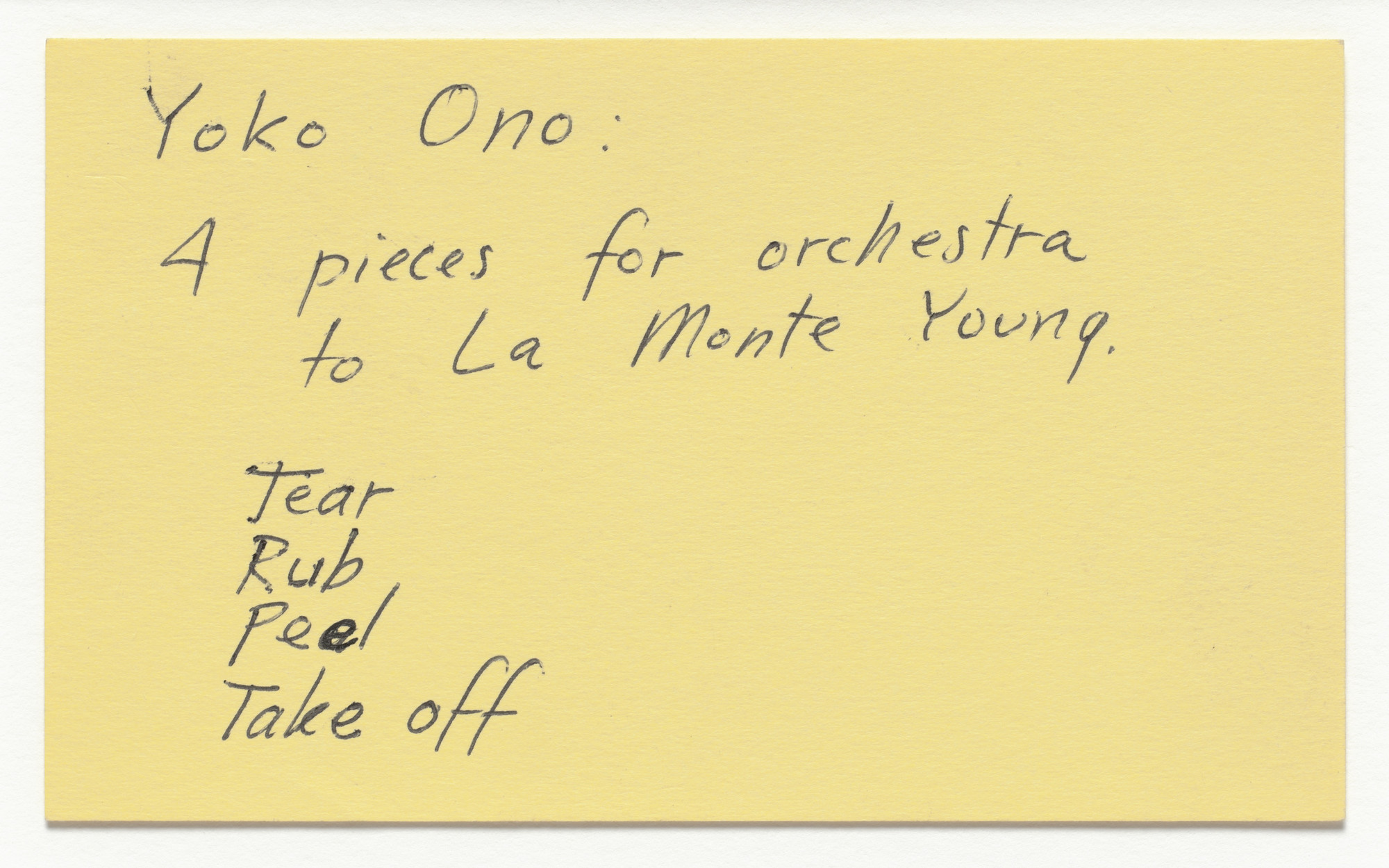 Yoko Ono. Pieces for Orchestra to La Monte Young. 1962/1965