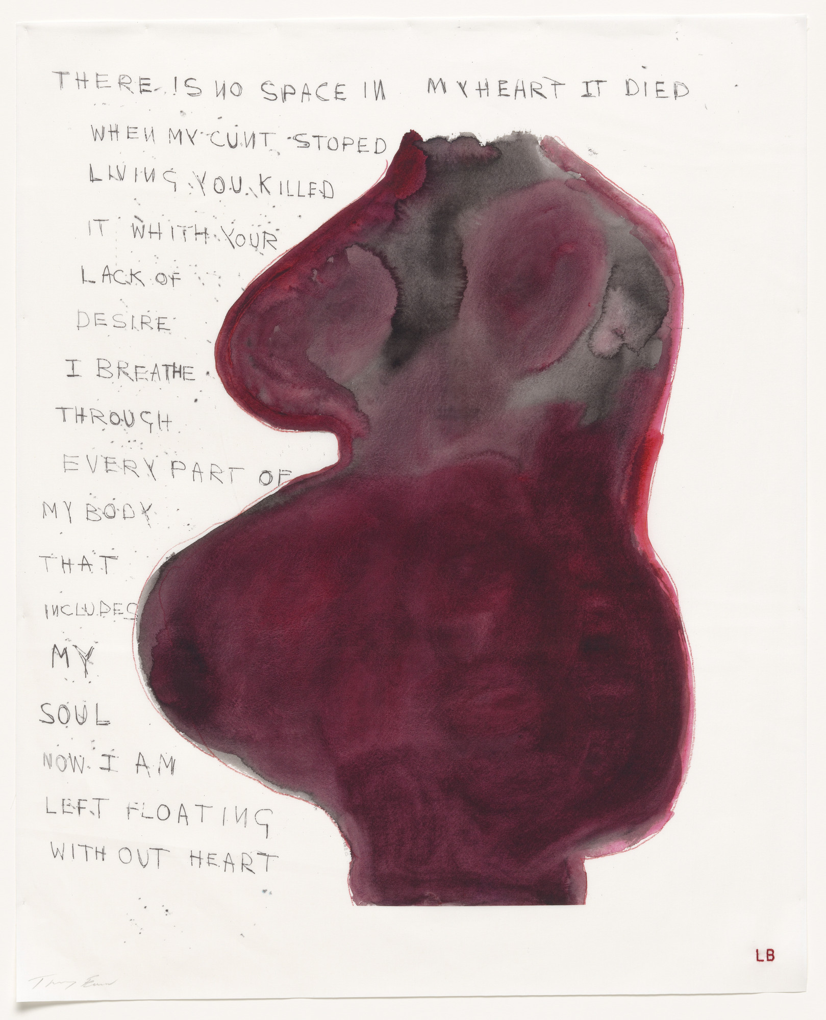Louise Bourgeois, Tracey Emin. When My Cunt Stopped Living, no. 16 of 16, from the series, Do Not Abandon Me. 2009-2010