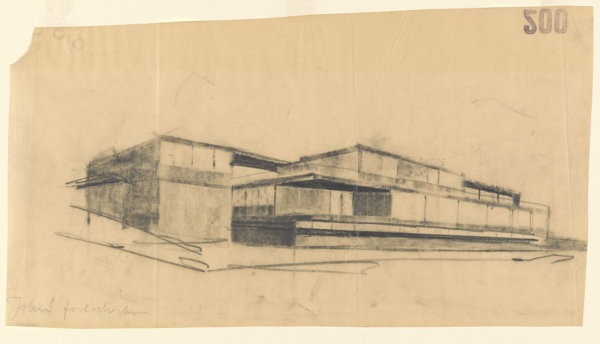 Ludwig Mies van der Rohe. Tugendhat House, Brno, Czech Republic (Perspective from southwest). 1928–1930