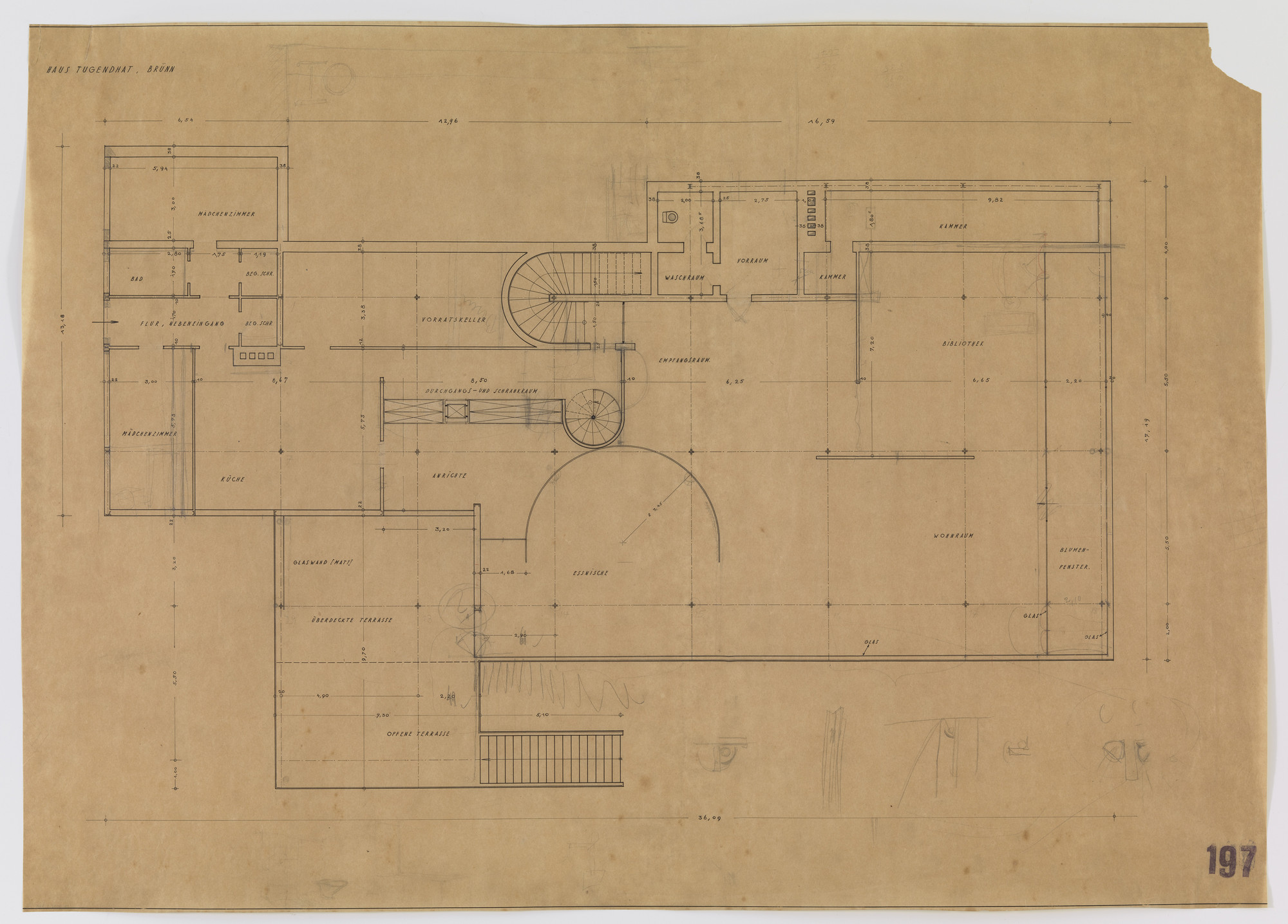 Ludwig Mies van der Rohe. Tugendhat House, Brno, Czech Republic (Ground floor plan). 1928-1930
