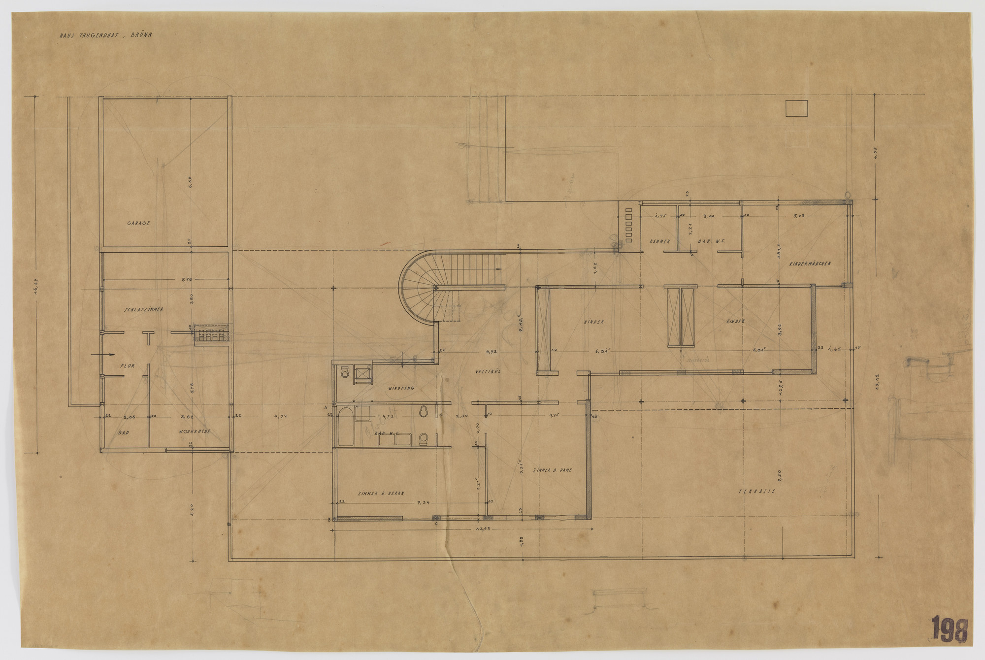 Ludwig Mies van der Rohe. Tugendhat House, Brno, Czech Republic (Upper floor plan). 1928-1930