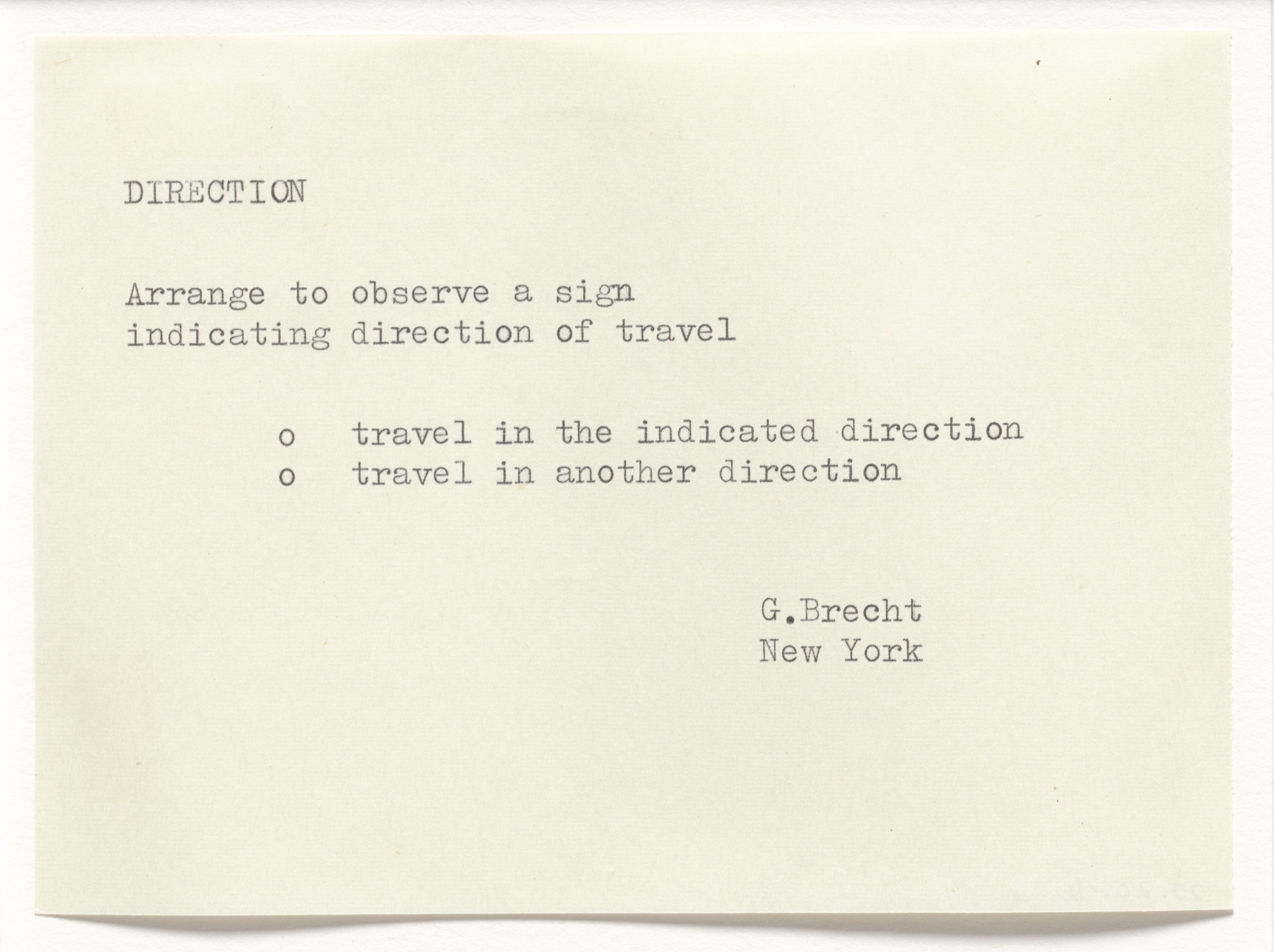 George Brecht. Direction. 1962