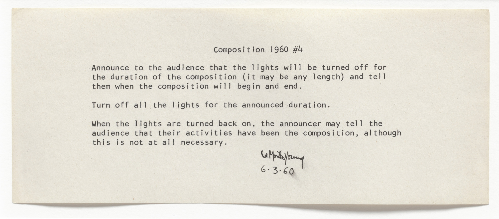 La Monte Young. Composition 1960 #4. 1960