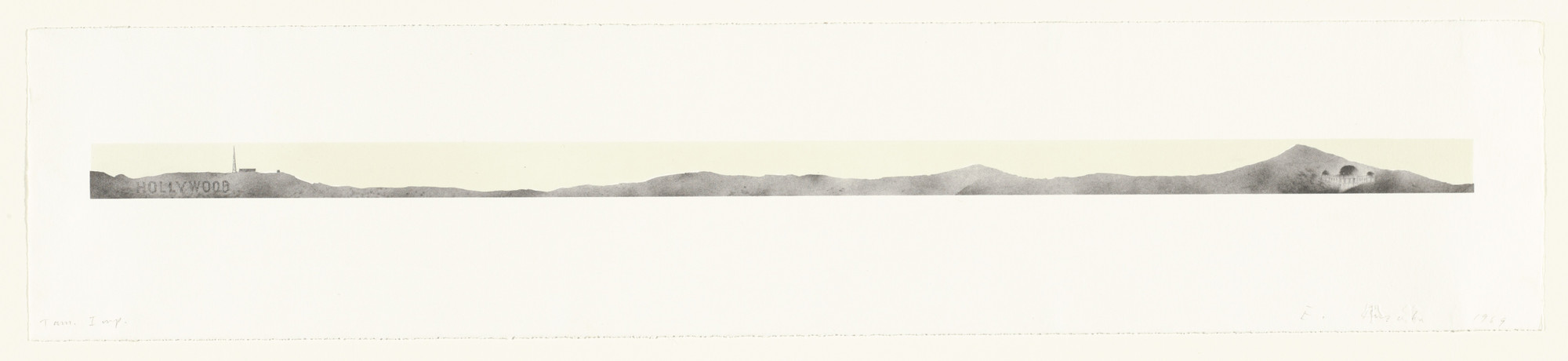 Edward Ruscha. Hollywood with Observatory. 1969