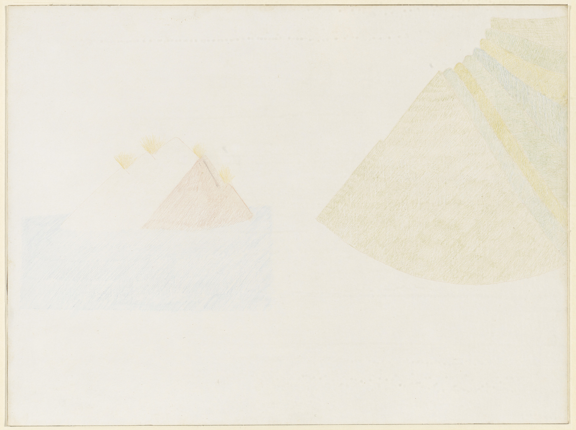 Walter De Maria. The Three Mountains with the Four Fires Floated on the Blue Sea toward the Green Mountains. 1964