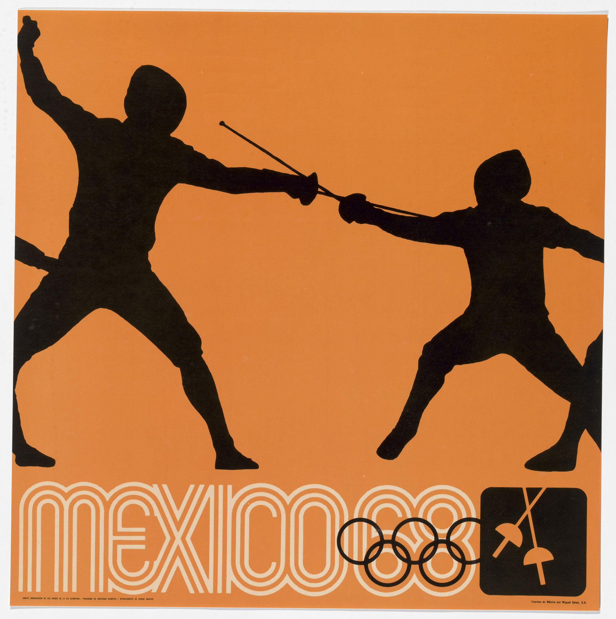 Lance Wyman, Department of Publications and Urban Design, Organizing Committee of the XIX Olympiad. Mexico City 1968 Olympics: Fencing. c. 1968