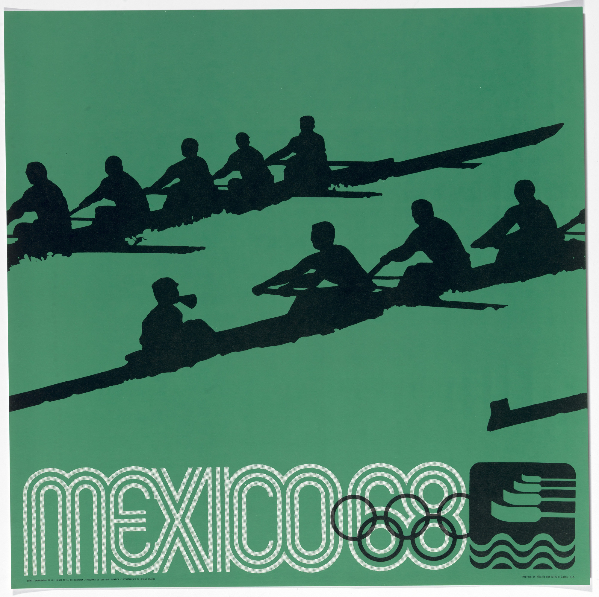 Lance Wyman, Department of Publications and Urban Design, Organizing Committee of the XIX Olympiad. Mexico City 1968 Olympics: Rowing. c. 1968