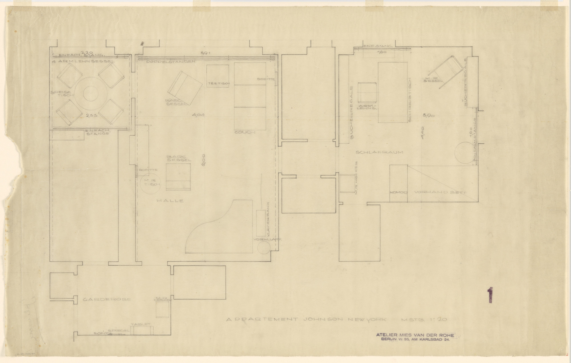 Ludwig Mies van der Rohe, Lilly Reich. Philip Johnson Apartment, New York, NY (Floor Plan). 1930-1931