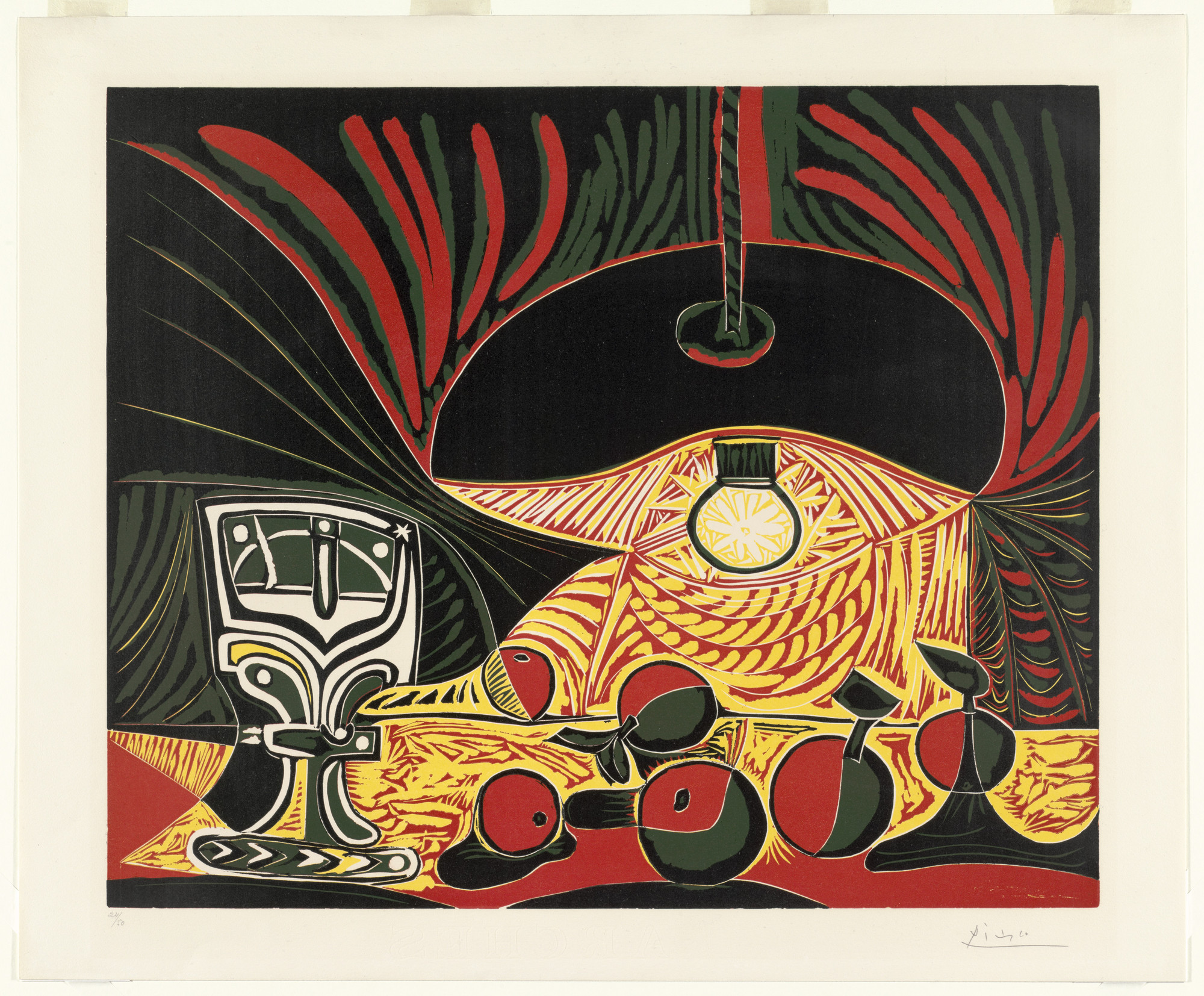 Pablo Picasso. Still Life with Glass Under the Lamp (Nature morte au ...