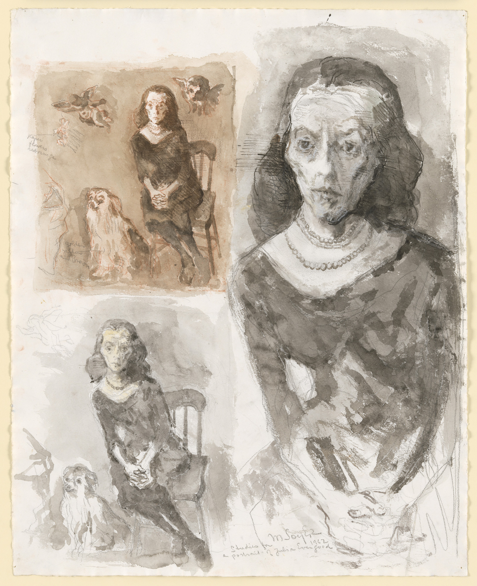 Moses Soyer. Studies for Julia Evergood. 1962
