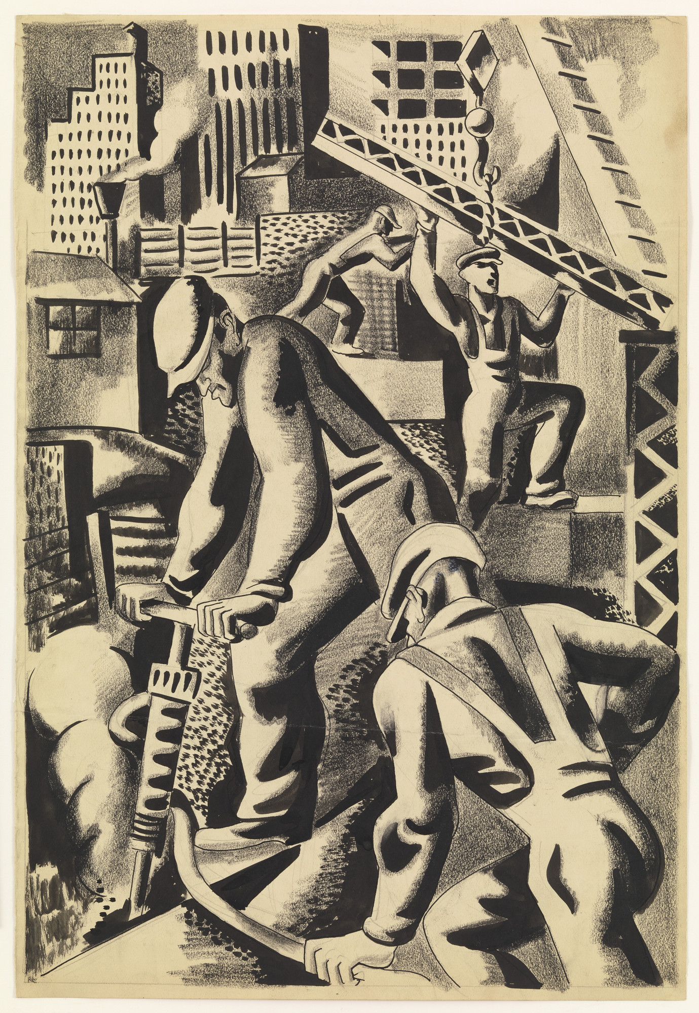 Jan Matulka. Figure Composition - Working Men. (c. 1927)