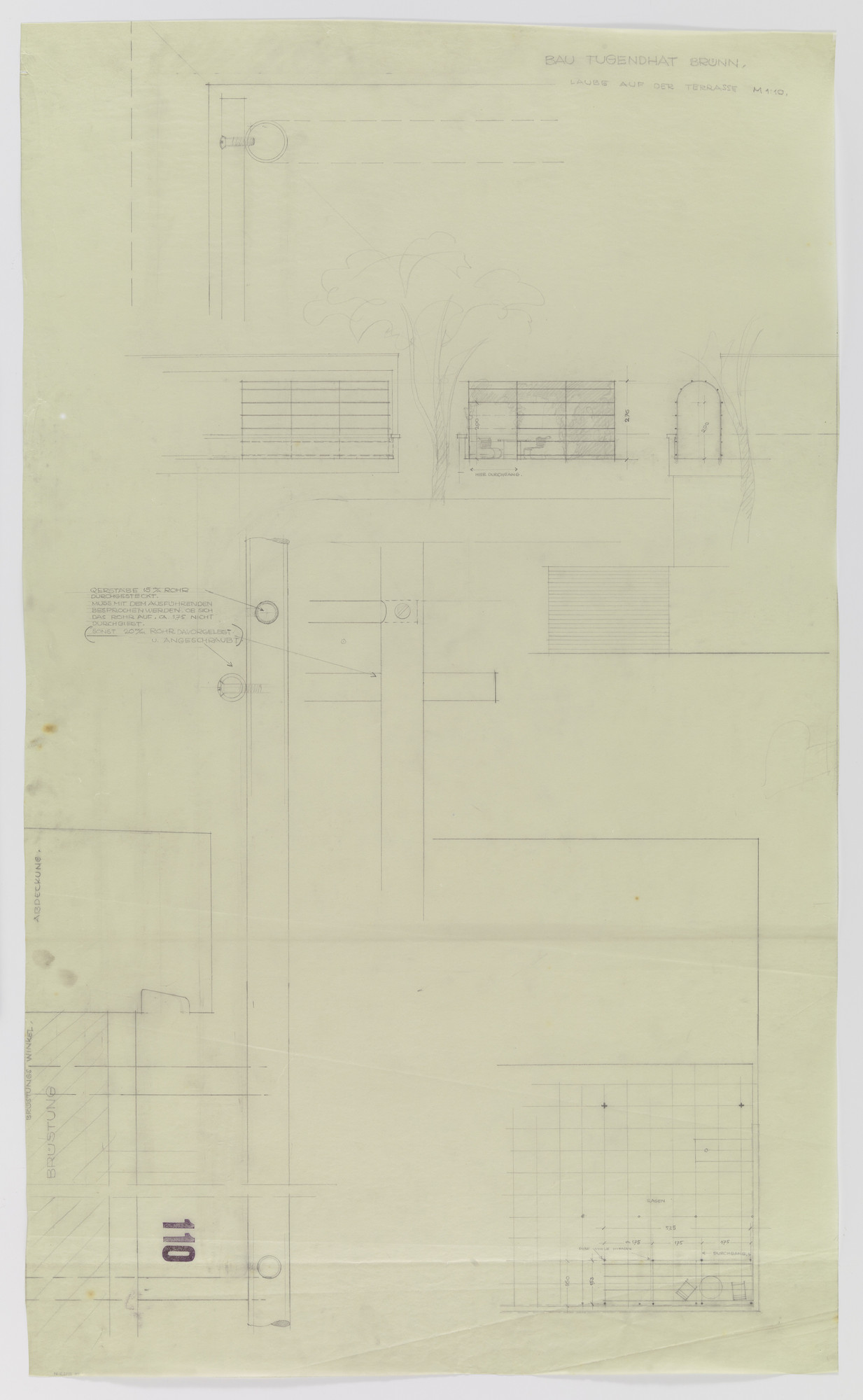 Ludwig Mies van der Rohe. Tugendhat House, Brno, Czech Republic (Arbor on the terrace. Elevation, plan and section). 1928–1930