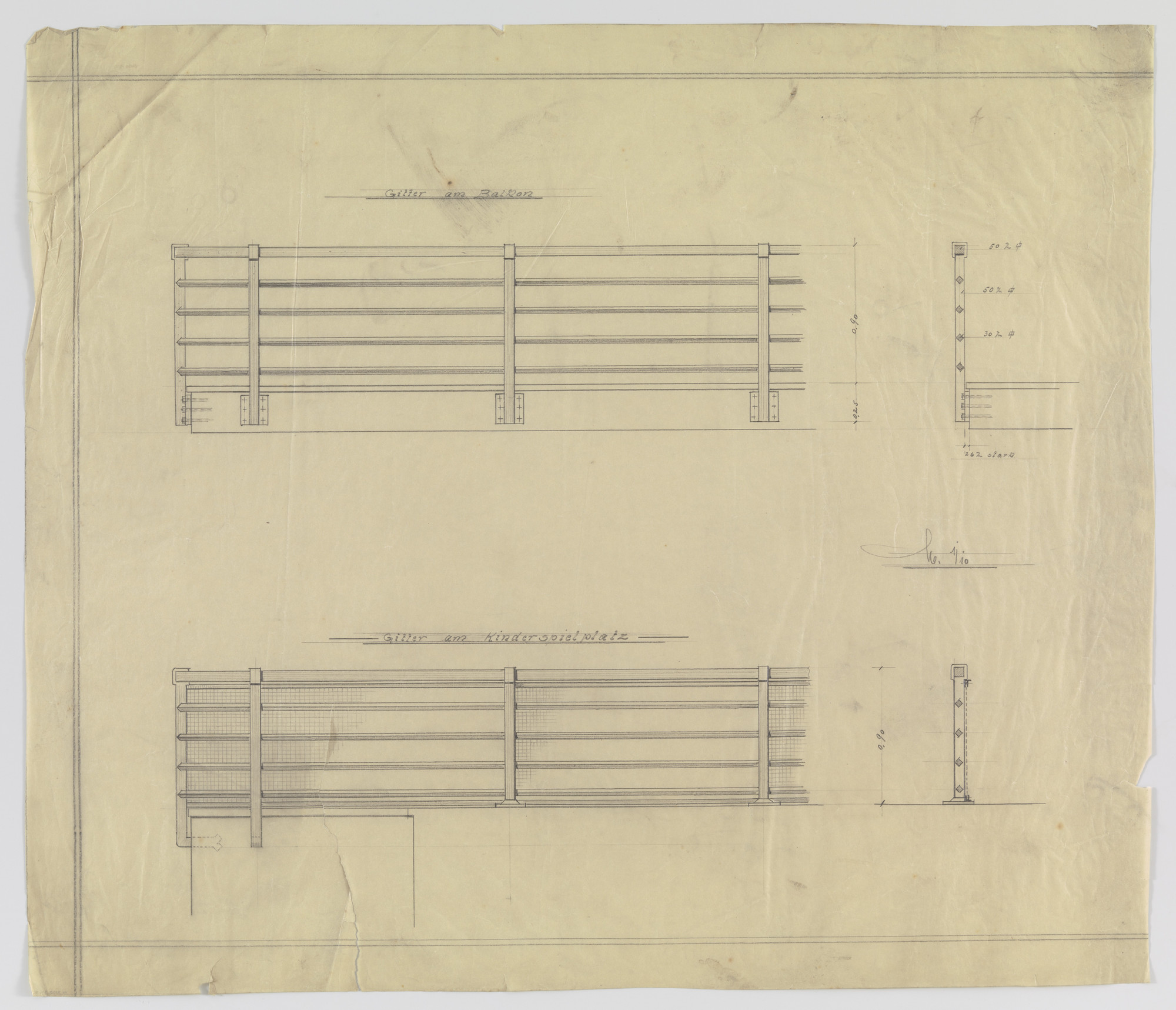 Ludwig Mies van der Rohe. Wolf House, Gubin, Poland, Balcony and playground railing. Two elevations, sections.. 1925-1927