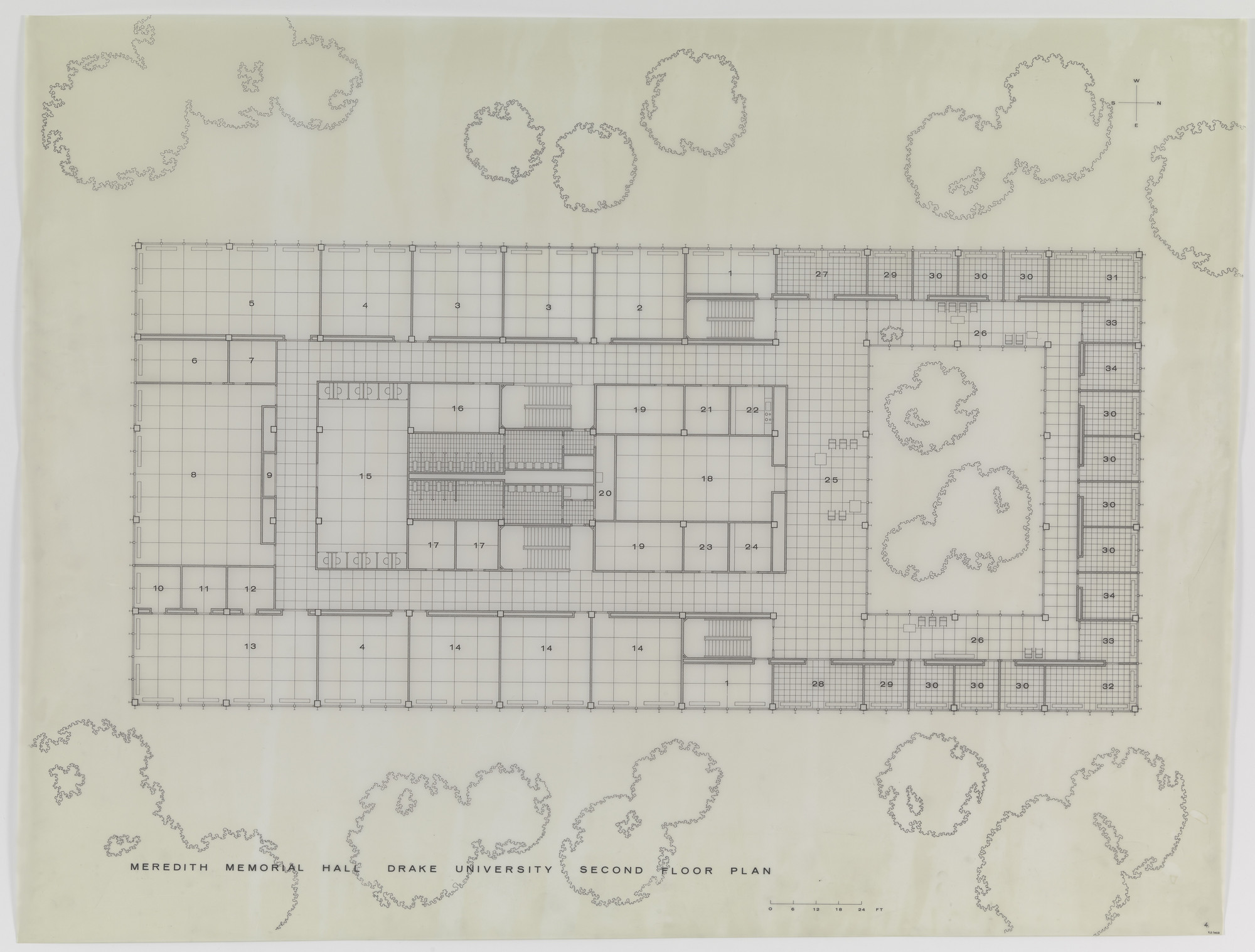 Ludwig Mies van der Rohe. Meredith Memorial Hall, Drake University, Des Moines, IA, Second floor plan. 1962–1965
