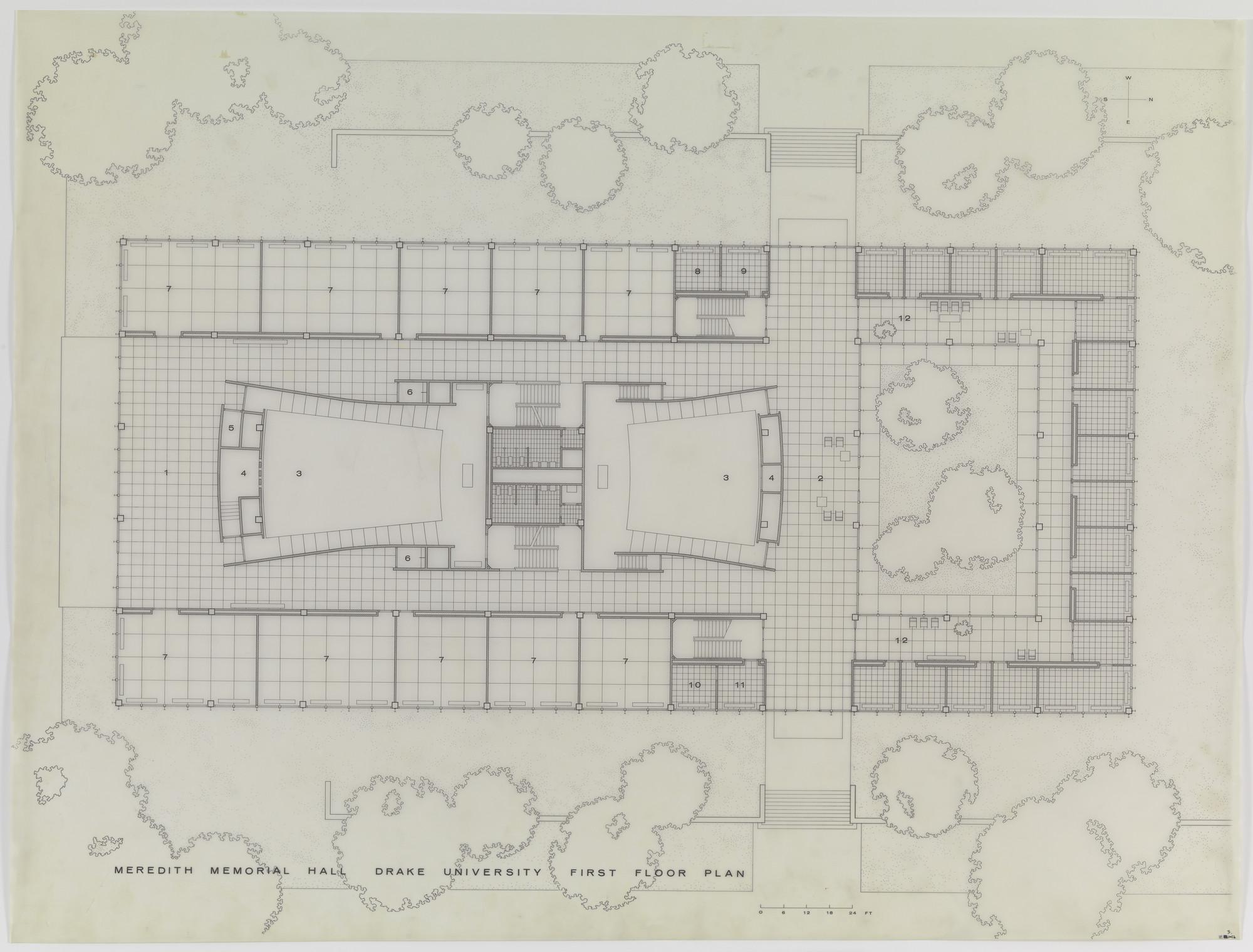 Ludwig Mies van der Rohe. Meredith Memorial Hall, Drake University, Des Moines, IA, First floor plan. 1962–1965