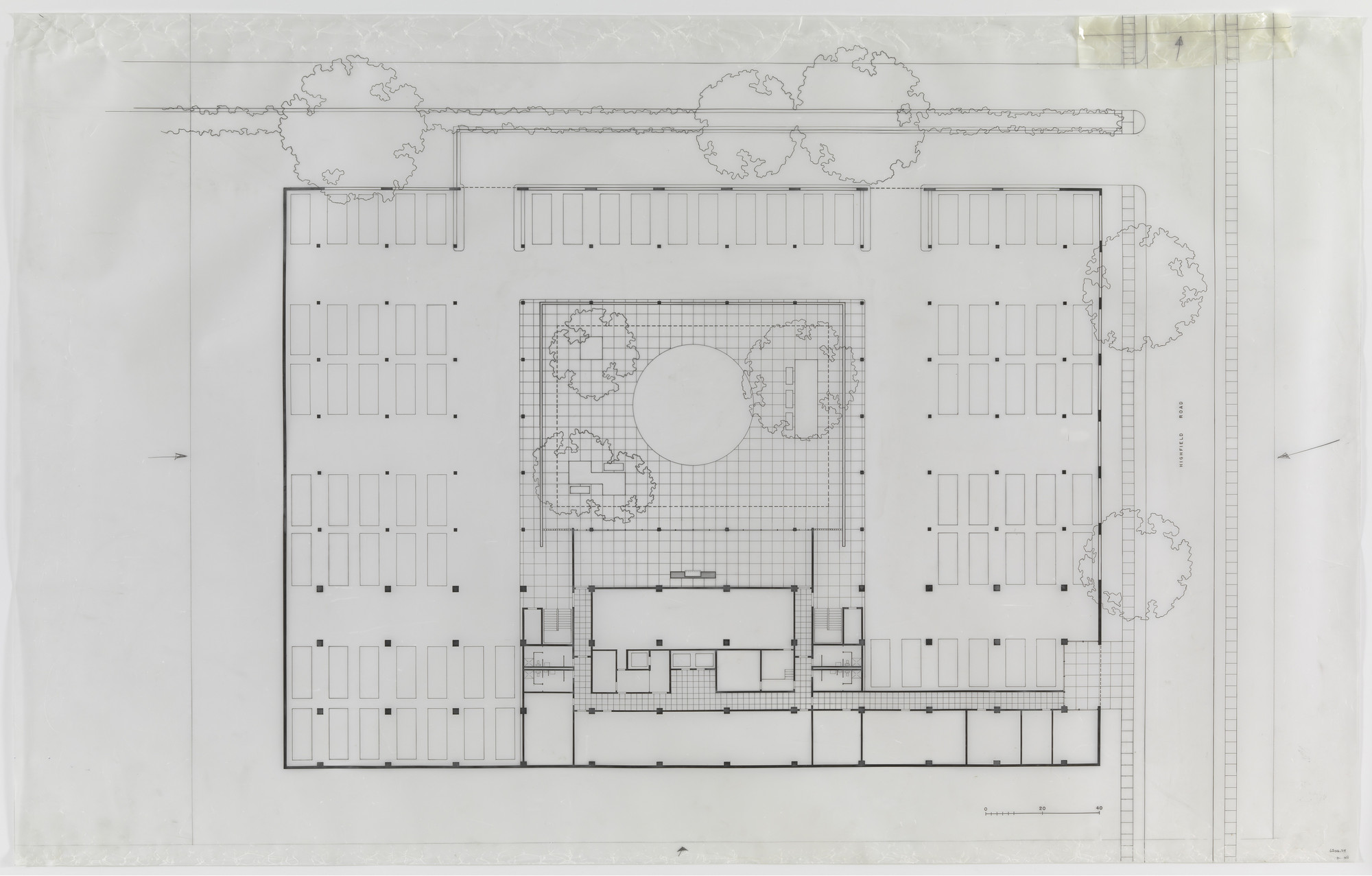 Ludwig Mies van der Rohe. Highfield House Apartments, Baltimore, MD, Basement parking plan. c.1962
