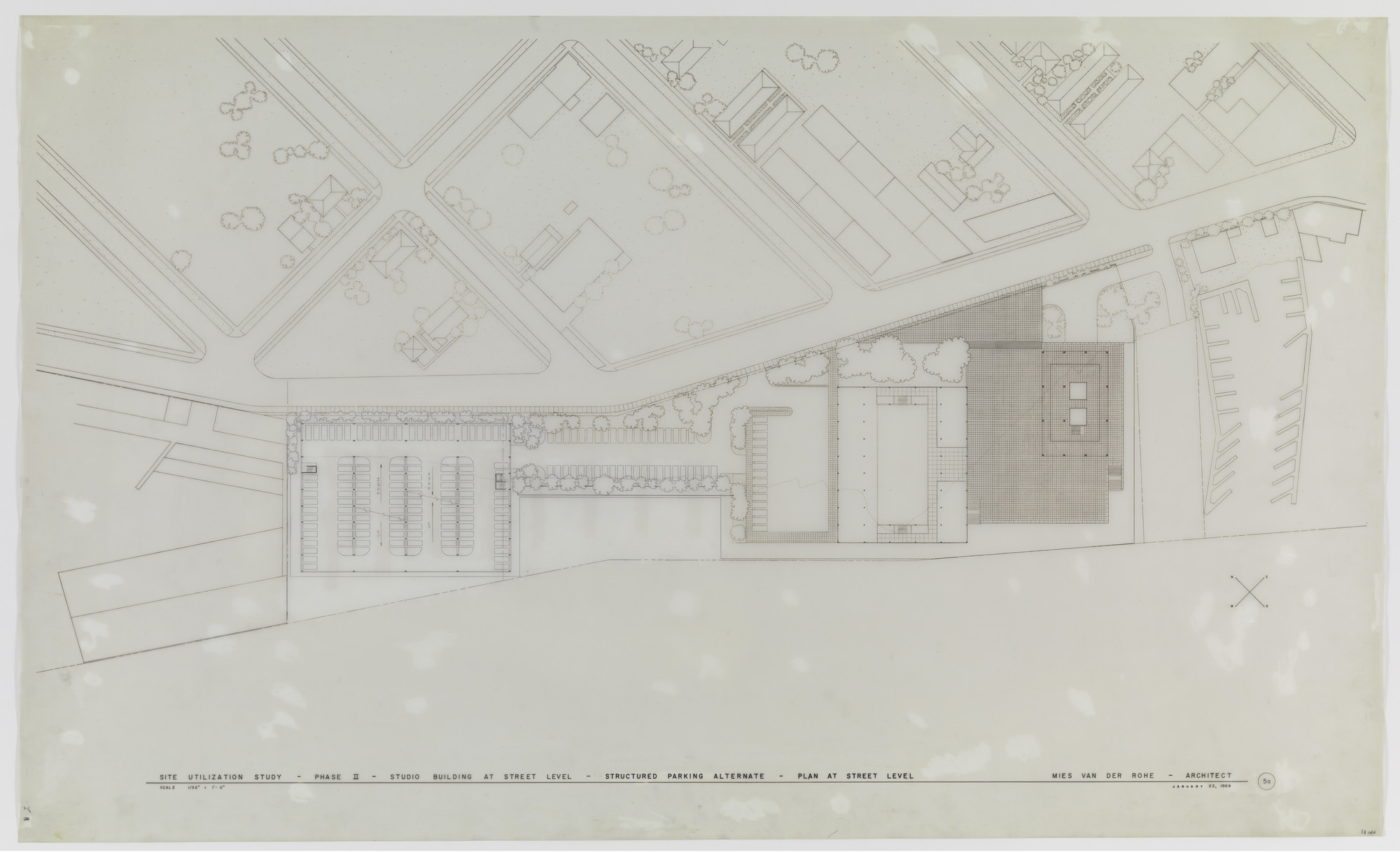 Ludwig Mies van der Rohe. King Broadcasting Company Office Building Project, Seattle, WA, Site utlilization study, phase II.. 1969