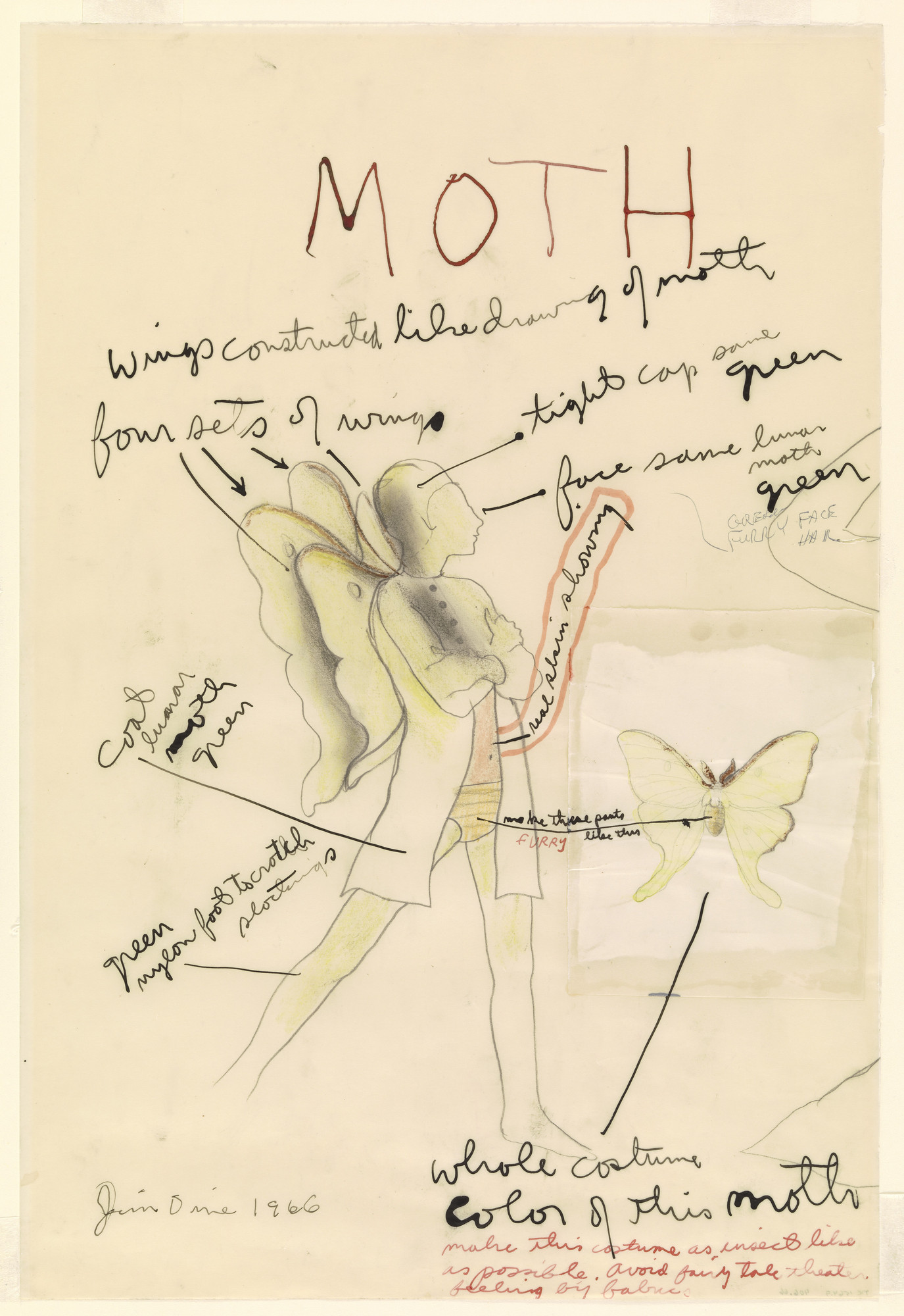 Jim Dine. Costume study for A Midsummer Night's Dream: Moth. 1966