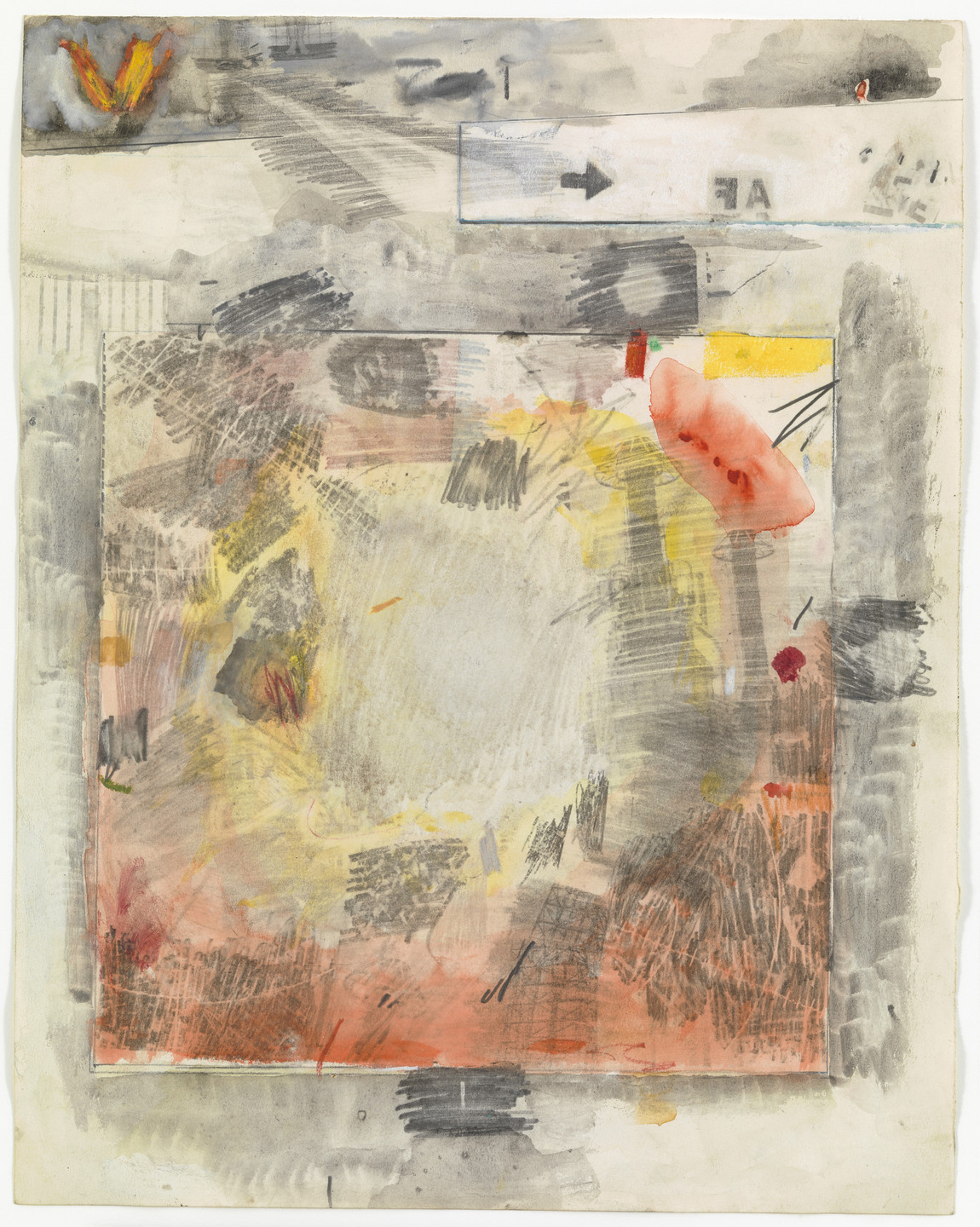 Robert Rauschenberg. Canto VIII: Circle Five, The Styx, The Wrathful; Circle Six, Dis, Capital of Hell, The Fallen Angels from the series Thirty-Four Illustrations for Dante's Inferno. (1959-60)