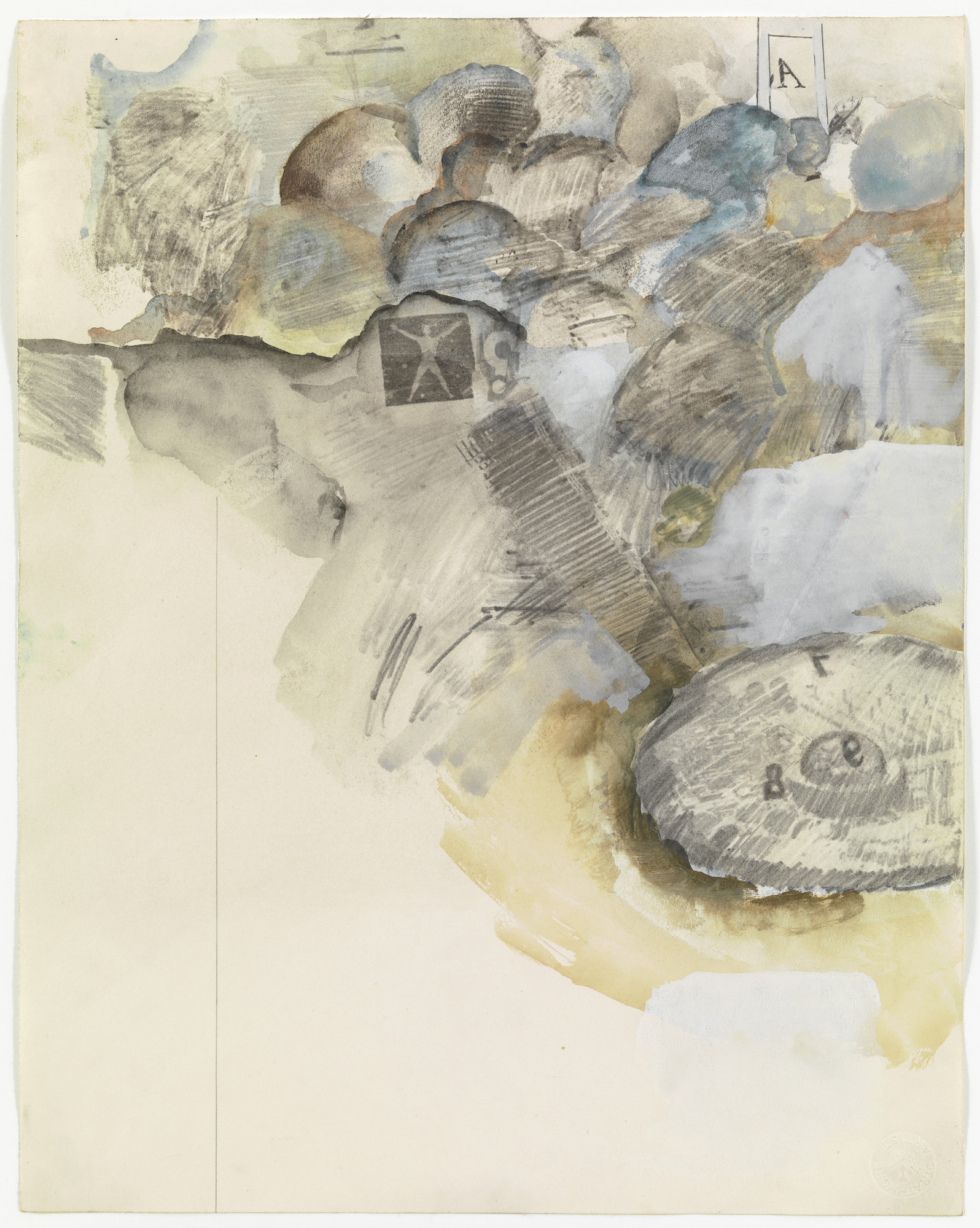 Robert Rauschenberg. Canto XI: Circle Six, The Heretics from the series Thirty-Four Illustrations for Dante's Inferno. (1959-60)