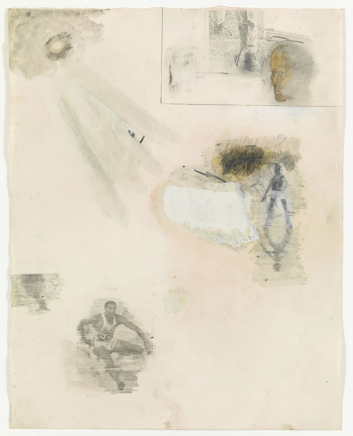 Robert Rauschenberg. Canto XV: Circle Seven, Round 3, The Violent Against Nature from the series Thirty-Four Illustrations for Dante's Inferno. (1959-60)