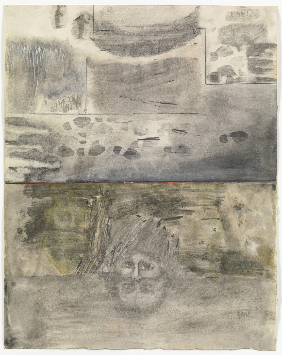 Robert Rauschenberg. Canto XVIII: Circle Eight, Malebolge, The Evil Ditches, The Fraudulent and Malicious: Bolgia 1, The Panderers and Seducers; Bolgia 2, The Flatterers from the series Thirty-Four Illustrations for Dante's Inferno. (1959-60)