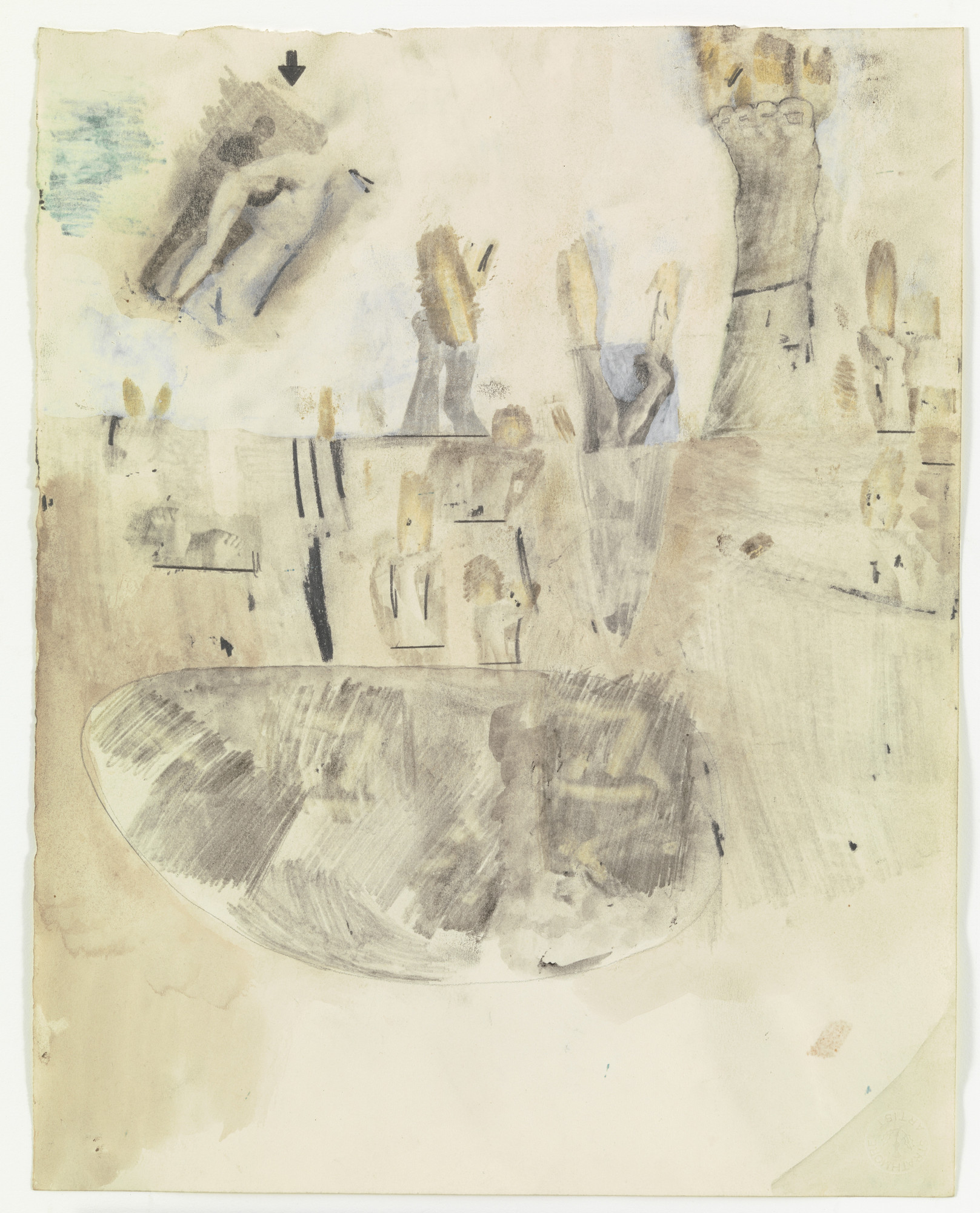 Robert Rauschenberg. Canto XIX: Circle Eight, Bolgia 3, The Simoniacs from the series Thirty-Four Illustrations for Dante's Inferno. (1959-60)