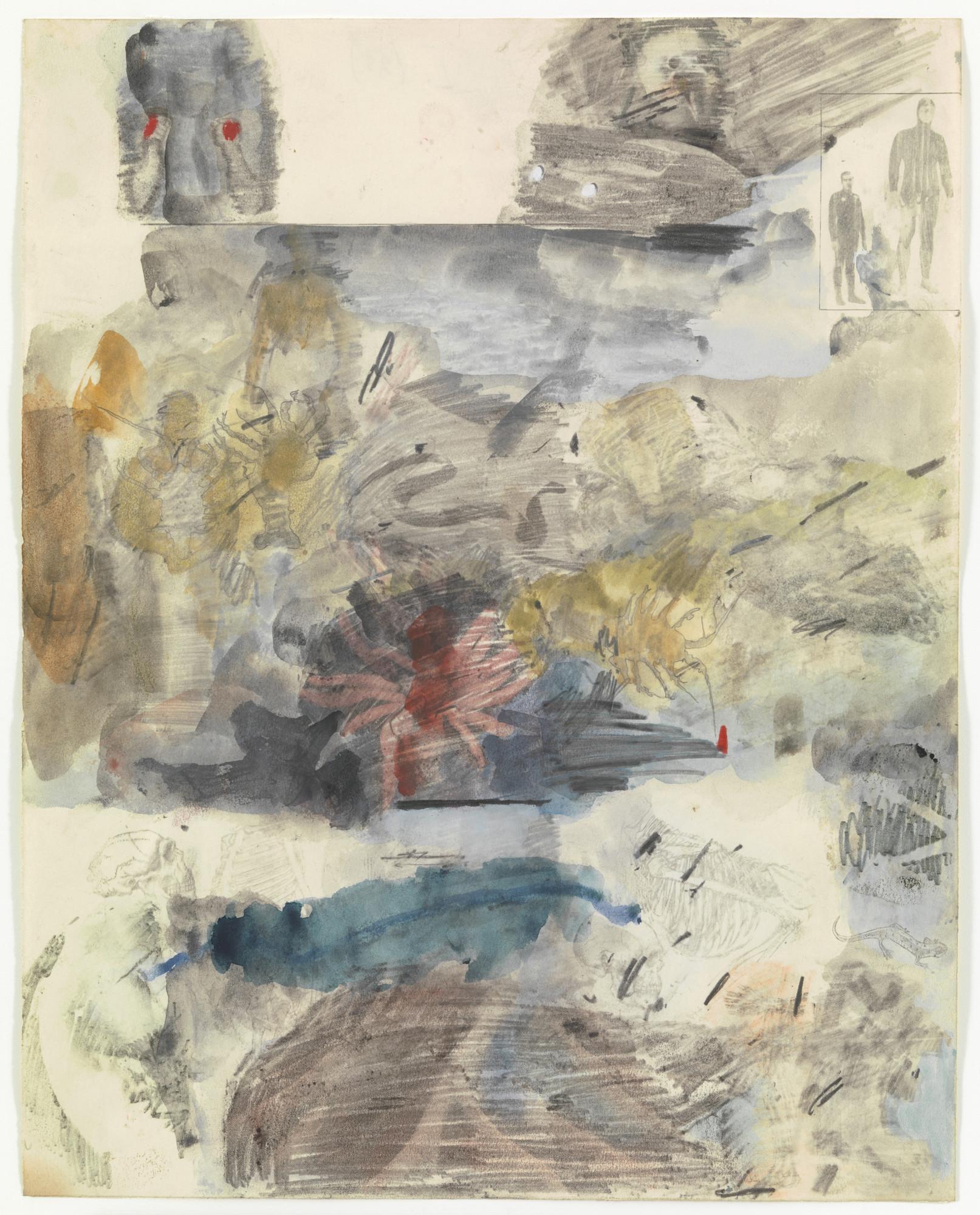 Robert Rauschenberg. Canto XXV: Circle Eight, Bolgia 7, The Thieves, from the series Thirty-Four Illustrations for Dante's Inferno. (1959-60)
