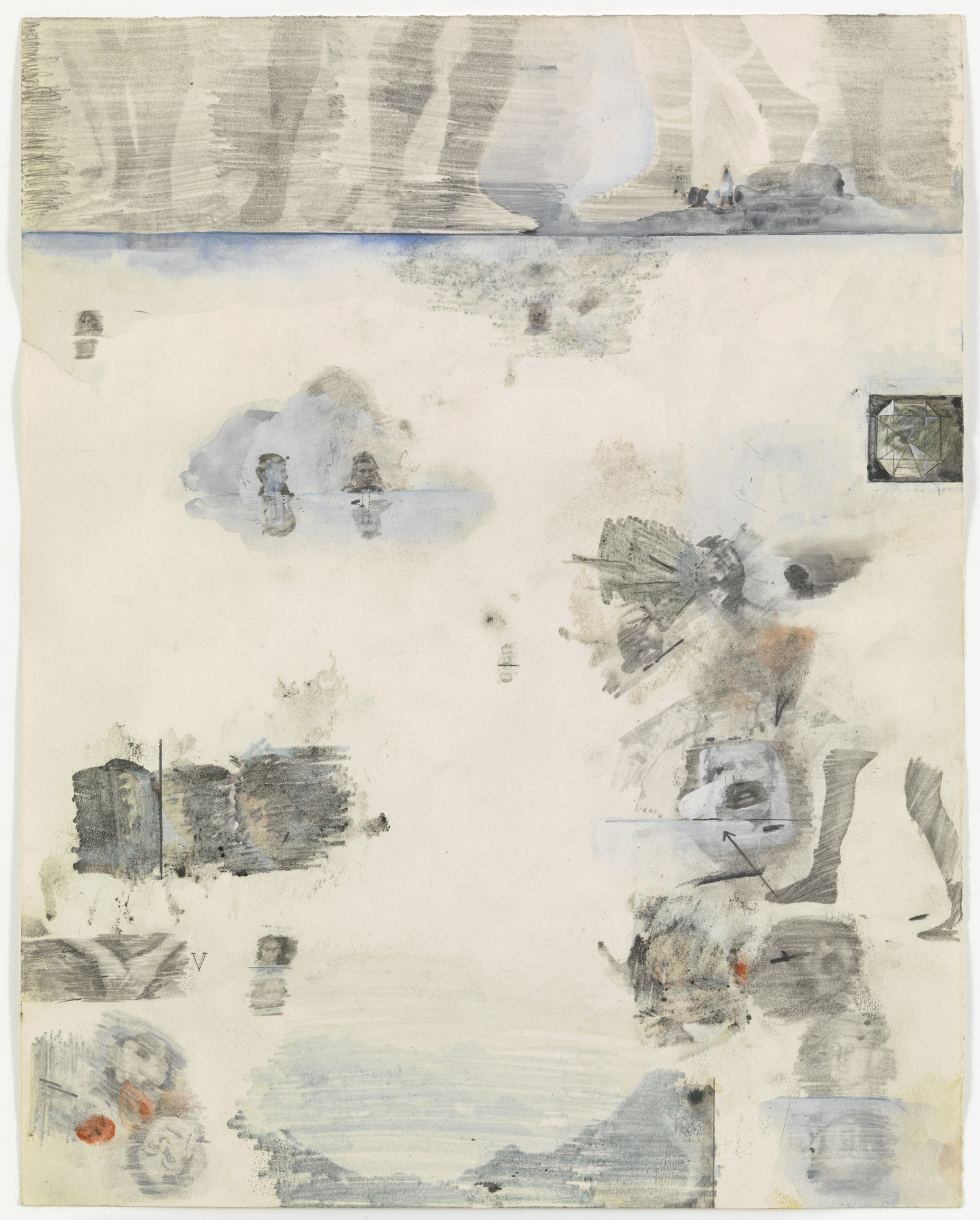 Robert Rauschenberg. Canto XXXII: Circle Nine, Cocytus, Compound Fraud: Round 1, Caina, Treacherous to Kin; Round 2, Antenora, Treacherous to Country from the series Thirty-Four Illustrations for Dante's Inferno. (1959-60)
