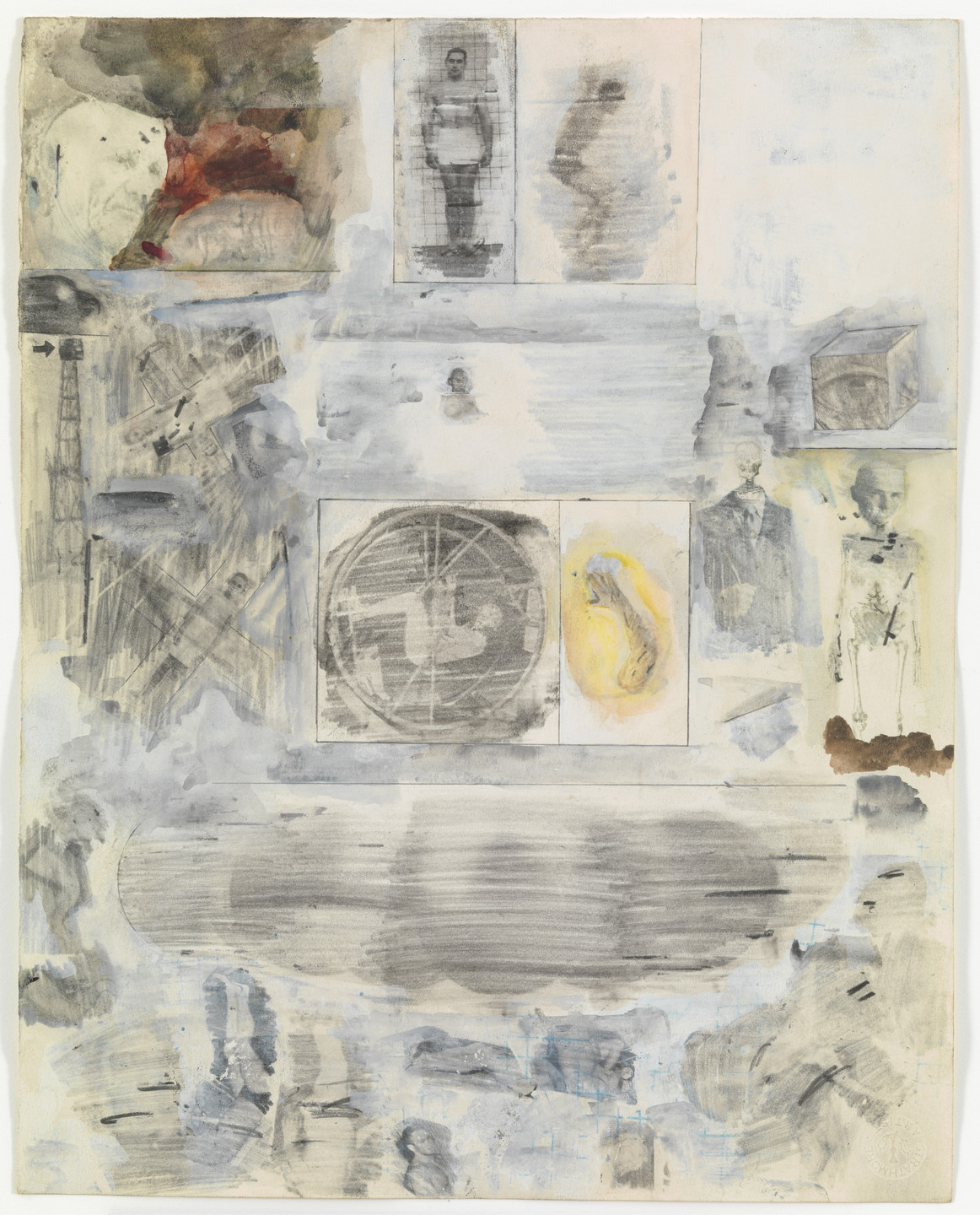 Robert Rauschenberg. Canto XXXIII: Circle Nine, Cocytus, Compound Fraud: Round 2, Antenora, Treacherous to Country; Round 3, Ptolomea, Treacherous to Guests and Hosts from the series Thirty-Four Illustrations for Dante's Inferno. (1959-60)