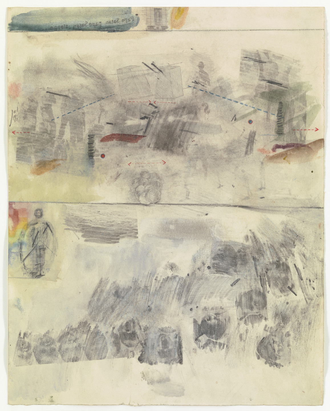 Robert Rauschenberg. Canto VII: Circle Four, The Hoarders and The Wasters; Circle Five, The Wrathful and The Sullen from the series Thirty-Four Illustrations for Dante's Inferno. (1959-60)