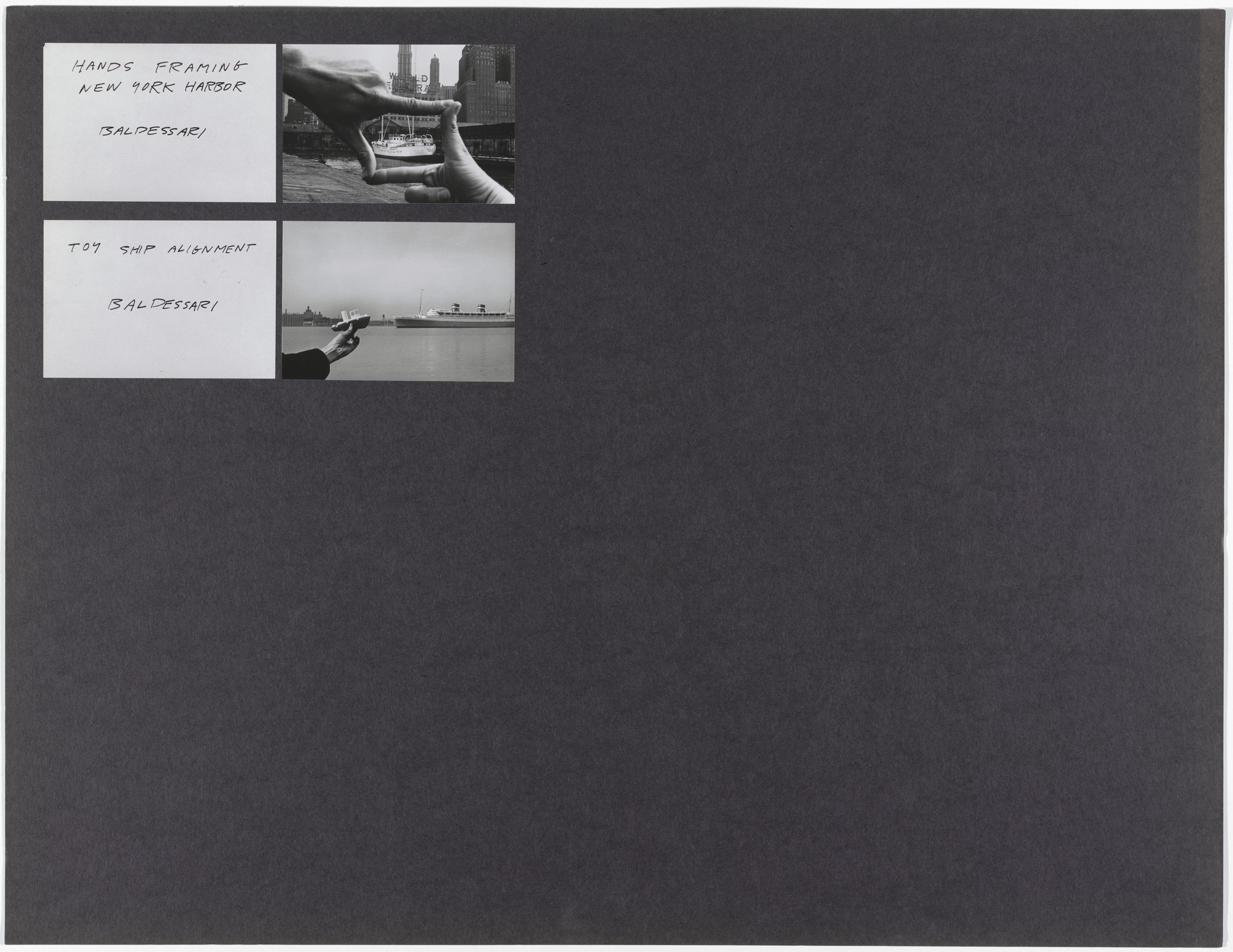 John Baldessari, Harry Shunk, János Kender. Hands Framing New York Harbor and Toy Ship Alignment. 1971