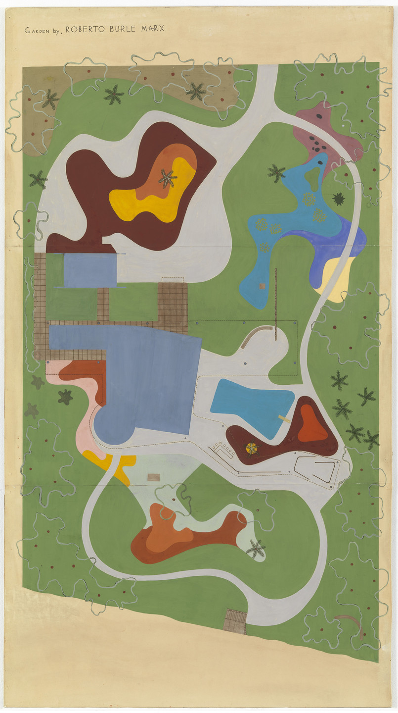 Roberto Burle Marx. Garden Design for Beach House for Mr. and Mrs. Burton Tremaine, project, Santa Barbara, California (Site plan). 1948