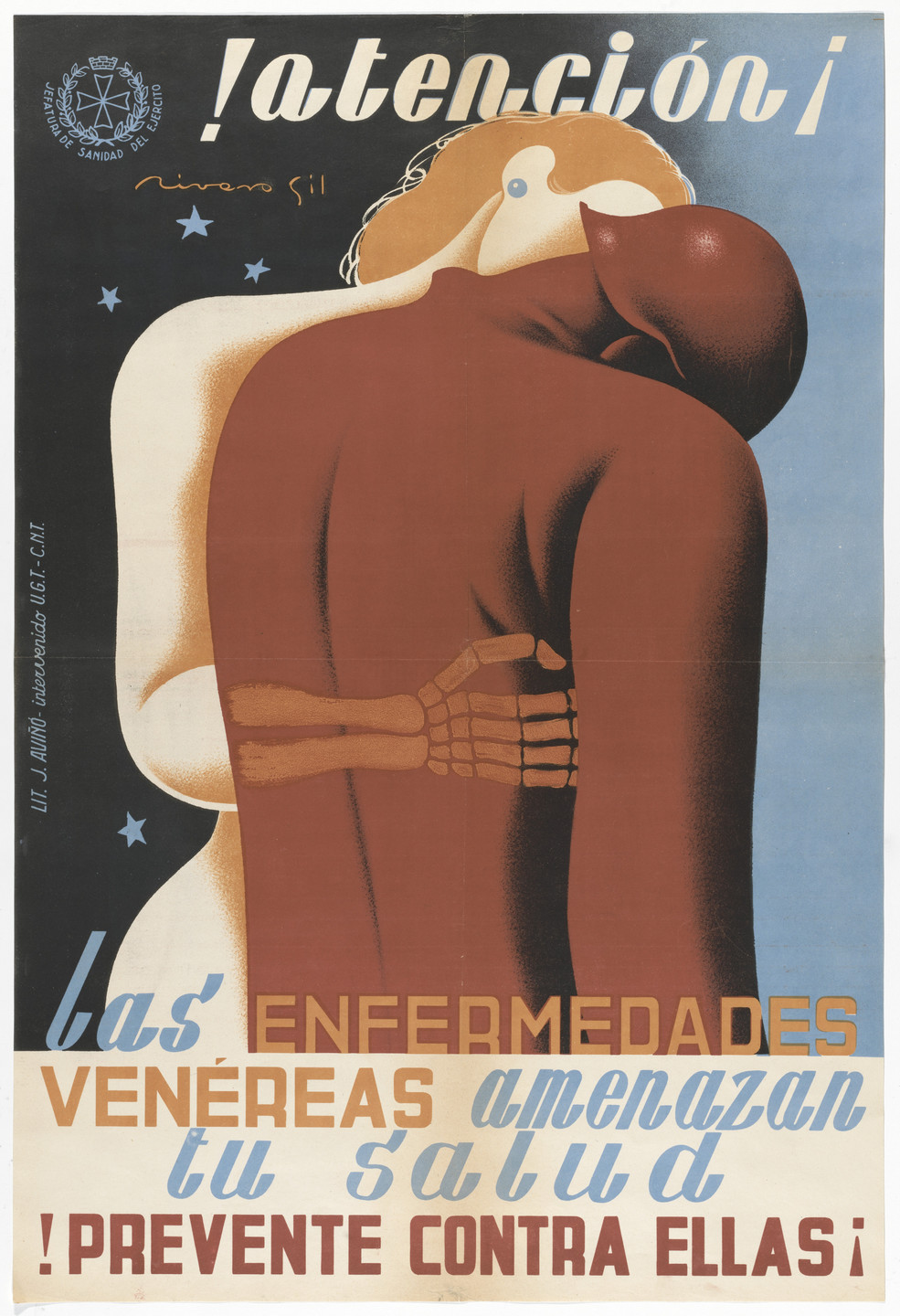 Francisco Rivero Gil. !Atención¡ Las Enfermedades Venéreas Amenazan Tu Salud. !Prevente Contra Ellas¡ (Attention! Venereal diseases threaten your health. Take precautions against them!). 1936–1939