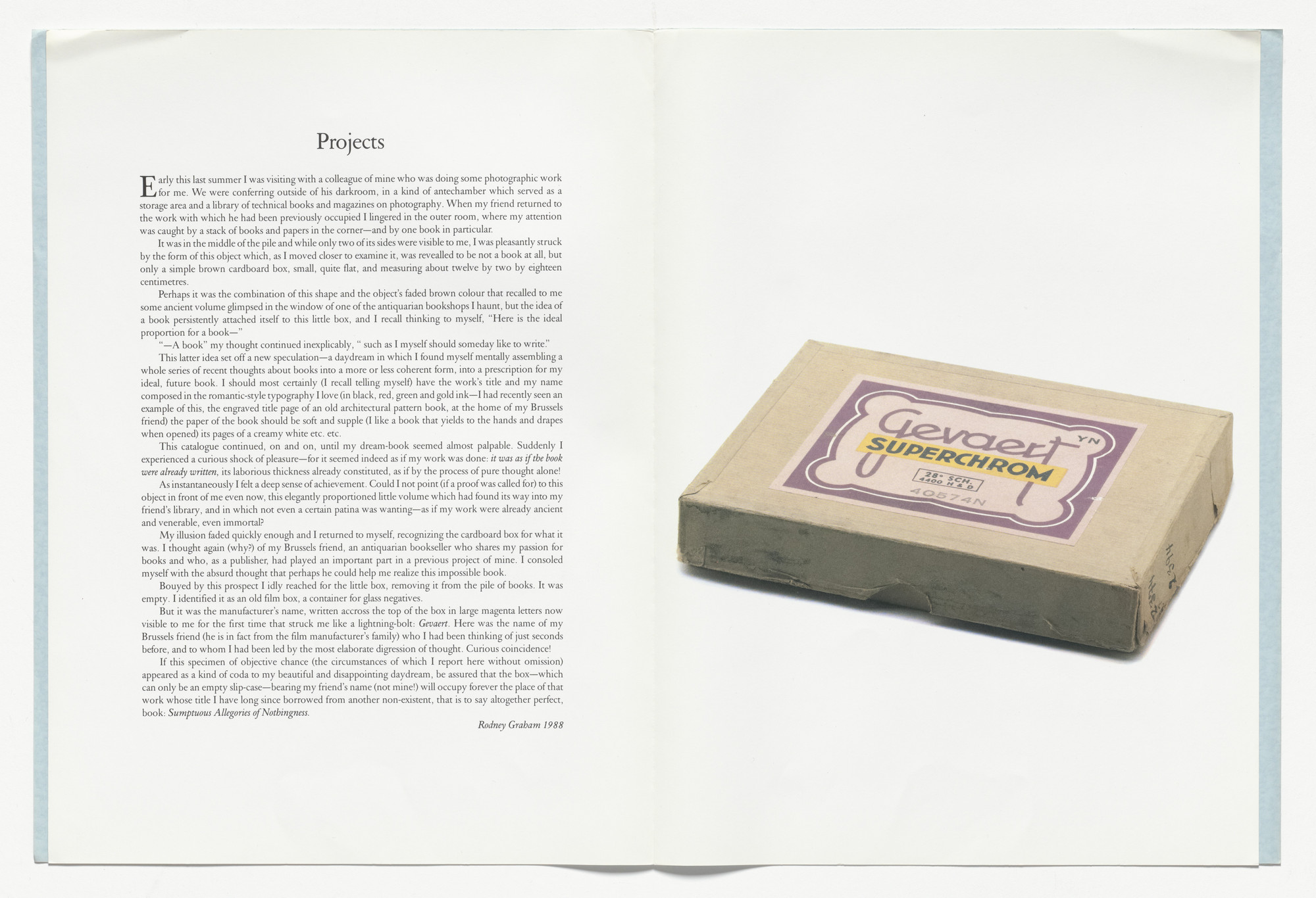 "Rodney Graham. Projects (""Here is the ideal proportion for a book...""). 1988"