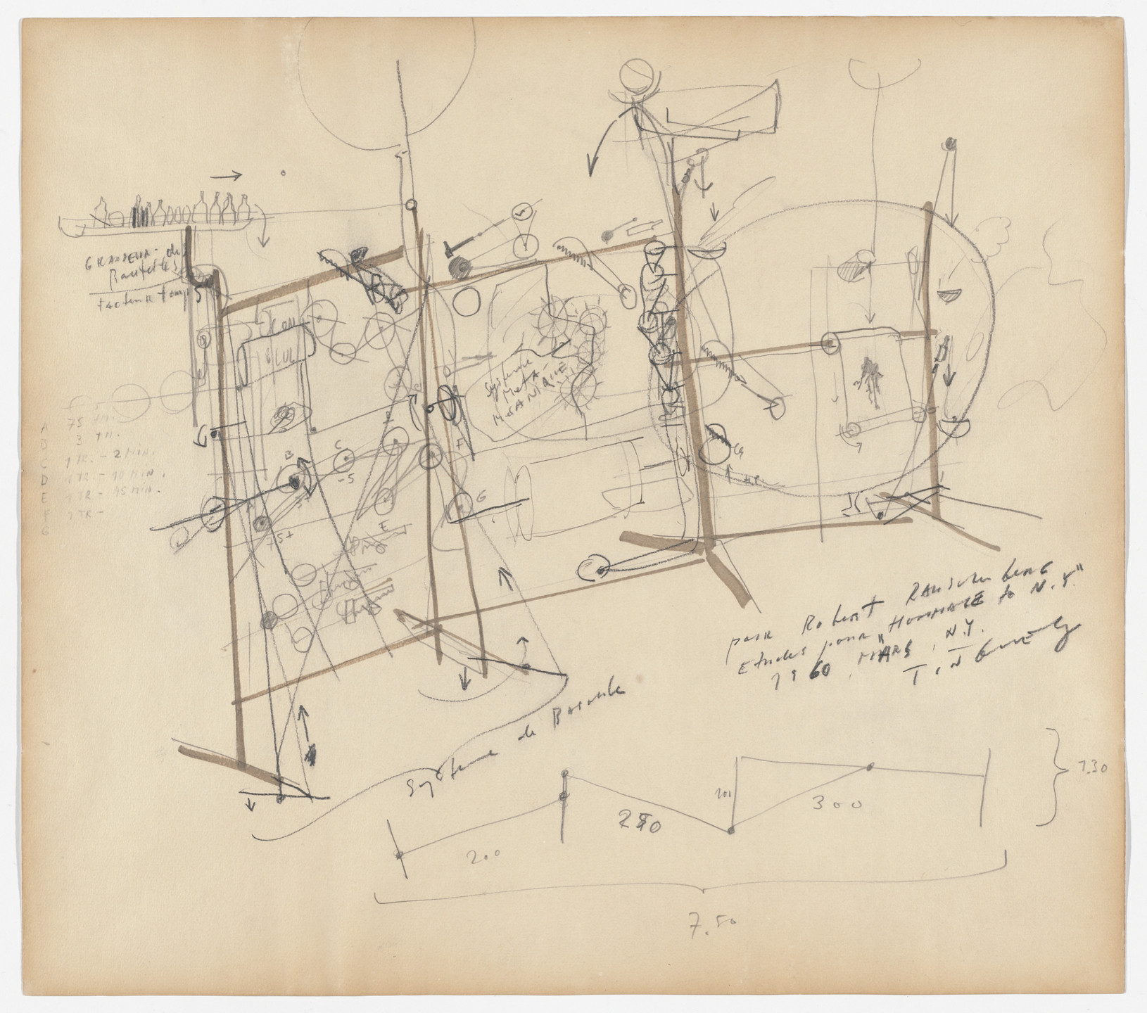 Jean Tinguely. Homage to New York drawing. 1960