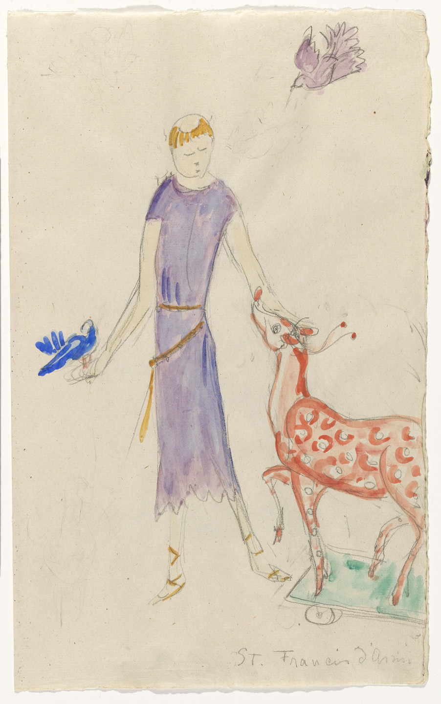 Florine Stettheimer. Costume design (St. Francis of Assisi) for artist's ballet Orphée of the Quat-z-arts. c. 1912
