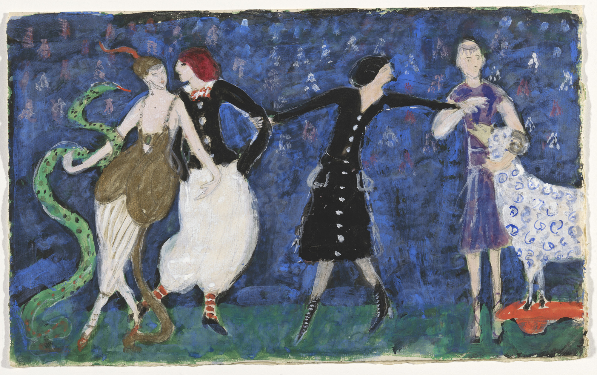Florine Stettheimer. Costume design (Euridice and the Snake, Two Tango Dancers, and St. Francis) for artist's ballet Orphée of the Quat-z-arts. c. 1912