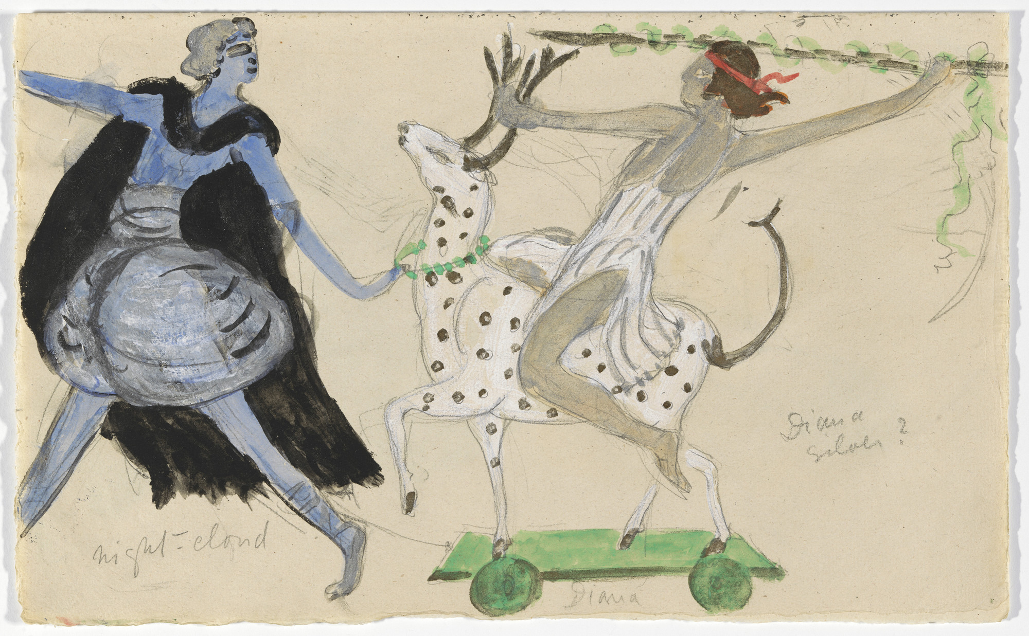 Florine Stettheimer. Costume design (Night-Cloud and Diana) for artist's ballet Orphée of the Quat-z-arts. c. 1912