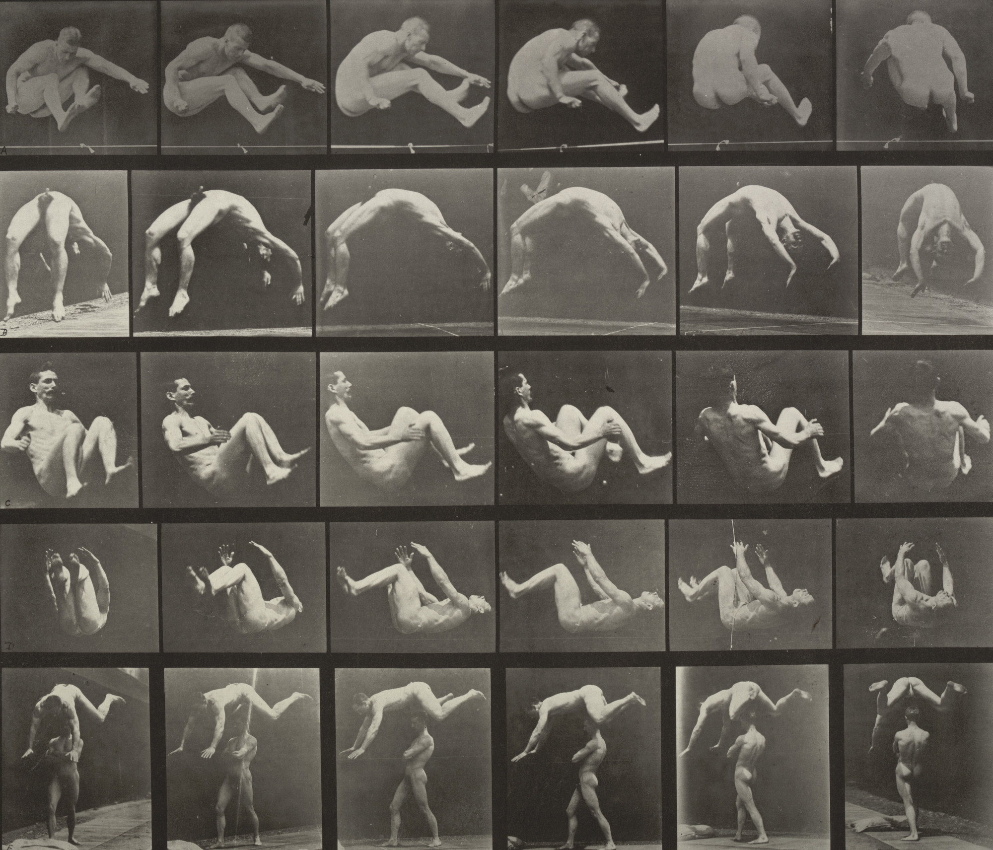 Eadweard J. Muybridge. Jumping; Handspring; Somersault; Springing over a Man's Back: Plate 522 from Animal Locomotion (1887). 1884-86