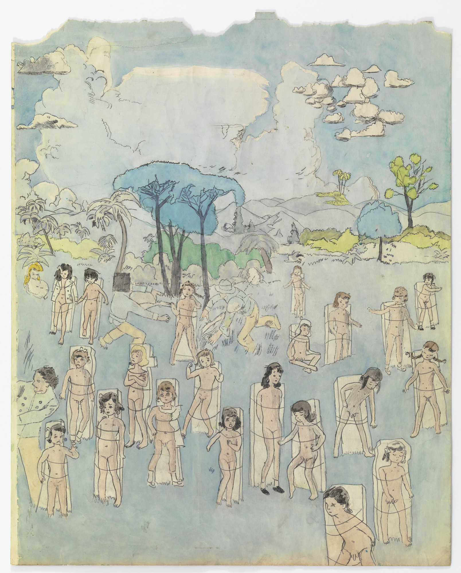 Henry Darger. a) Untitled (Many girls tied to slabs of stone) b) Untitled (Pastoral scene - girls with lasso). (n.d.)