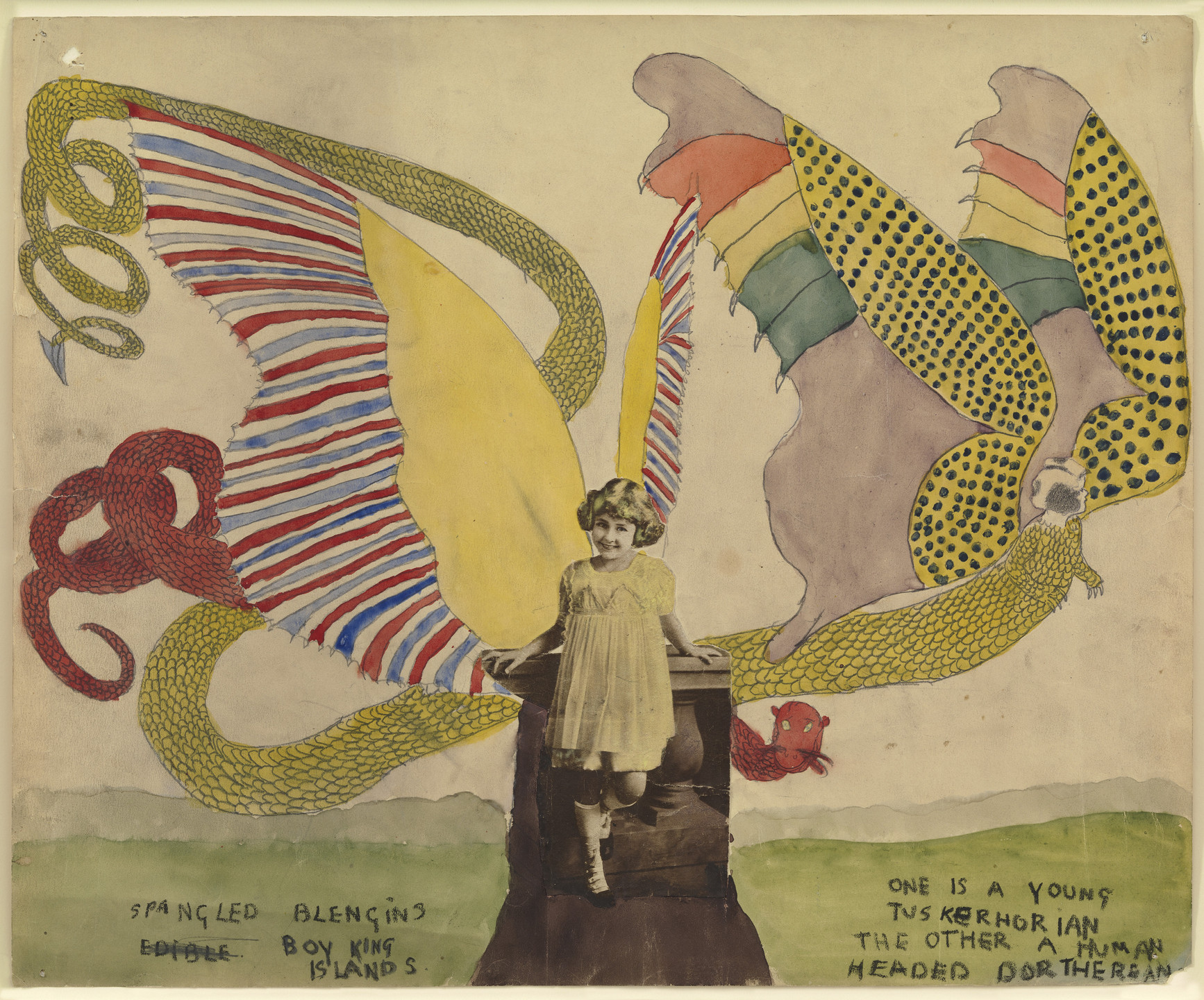 Henry Darger. Spangled Blengins. Boy King Islands. One is a young Tuskerhorian the other a human headed Dortherean.. (n.d.)