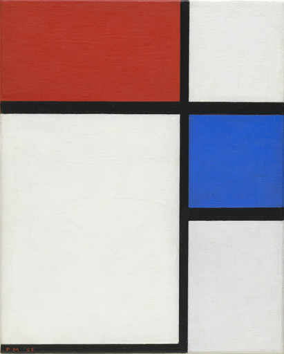 Piet Mondrian. Composition No. II, with Red and Blue. 1929 (original date partly obliterated; mistakenly repainted 1925 by Mondrian)