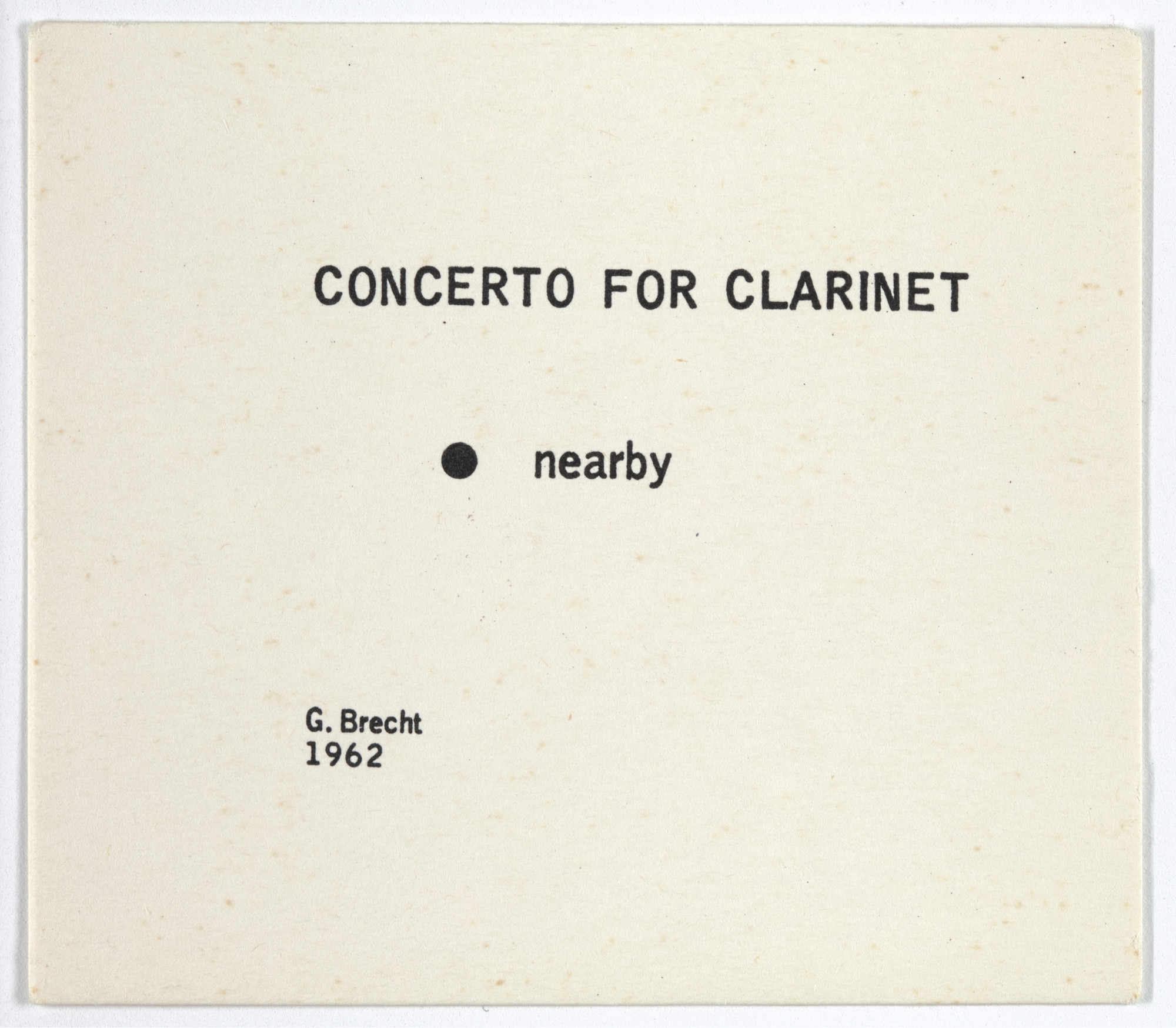 George Brecht. Concerto for Clarinet from Water Yam. 1962