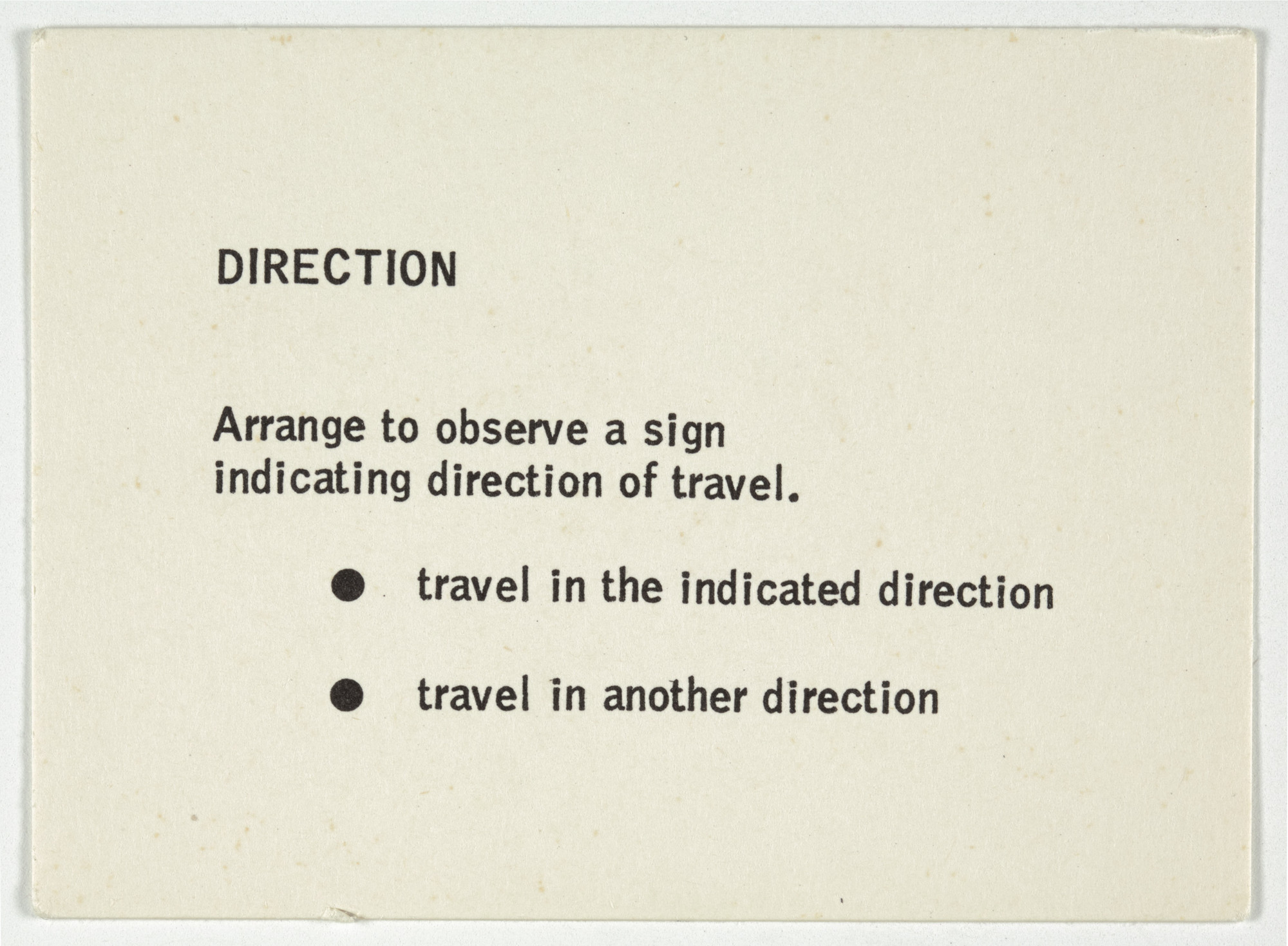 George Brecht. Direction from Water Yam. 1963