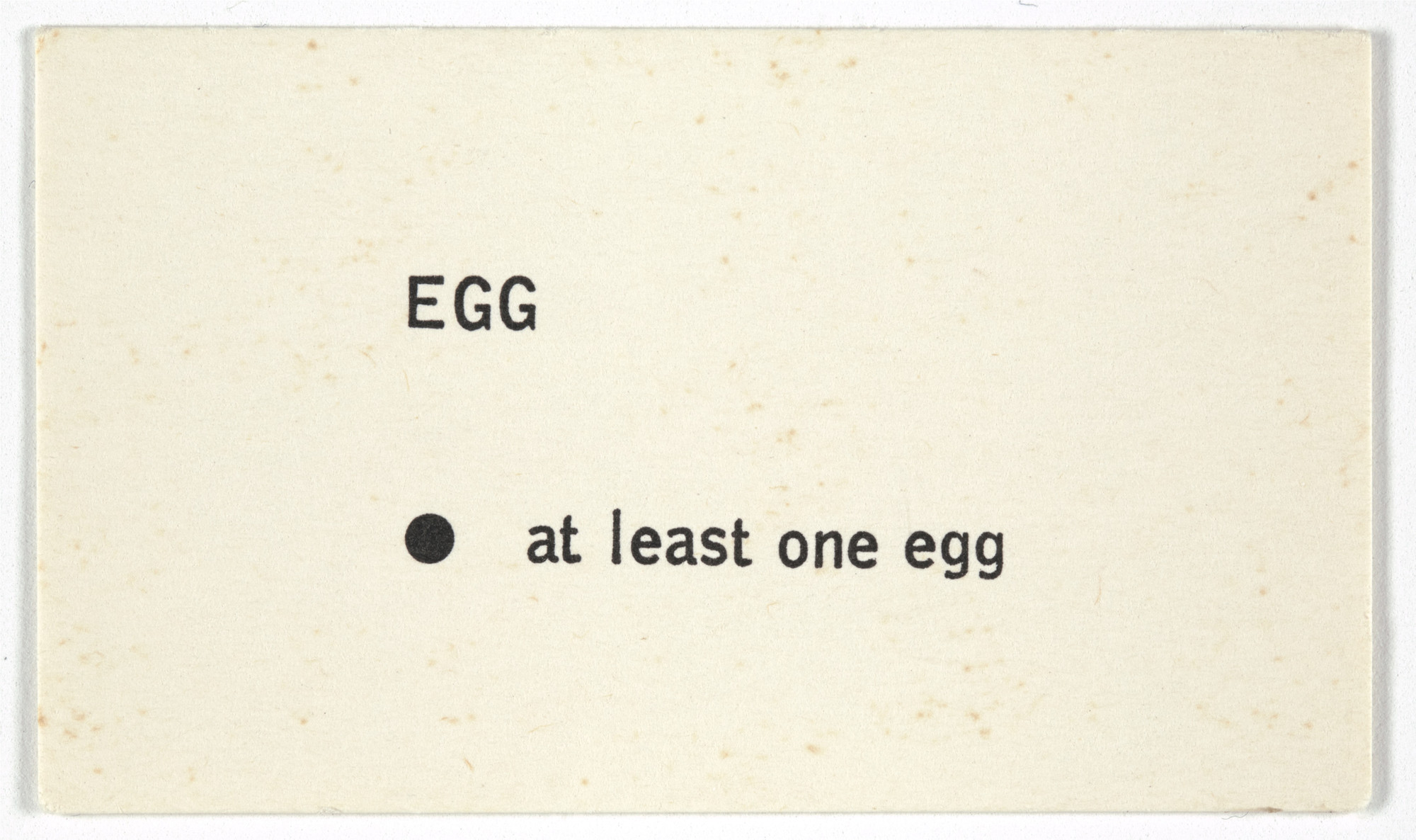 George Brecht. Egg from Water Yam. 1963