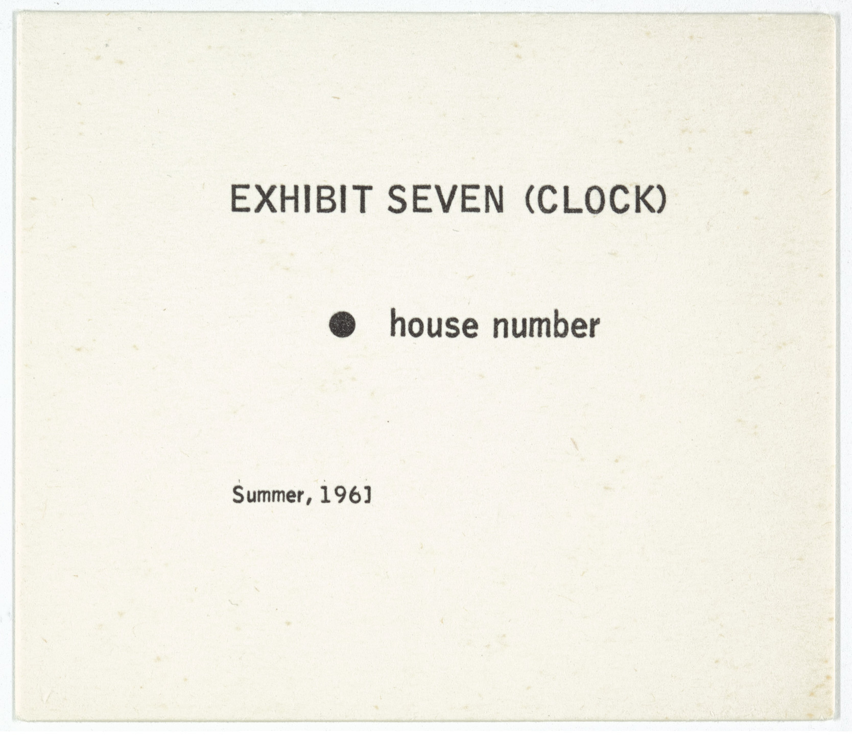 George Brecht. Exhibit Seven (Clock) from Water Yam. 1961