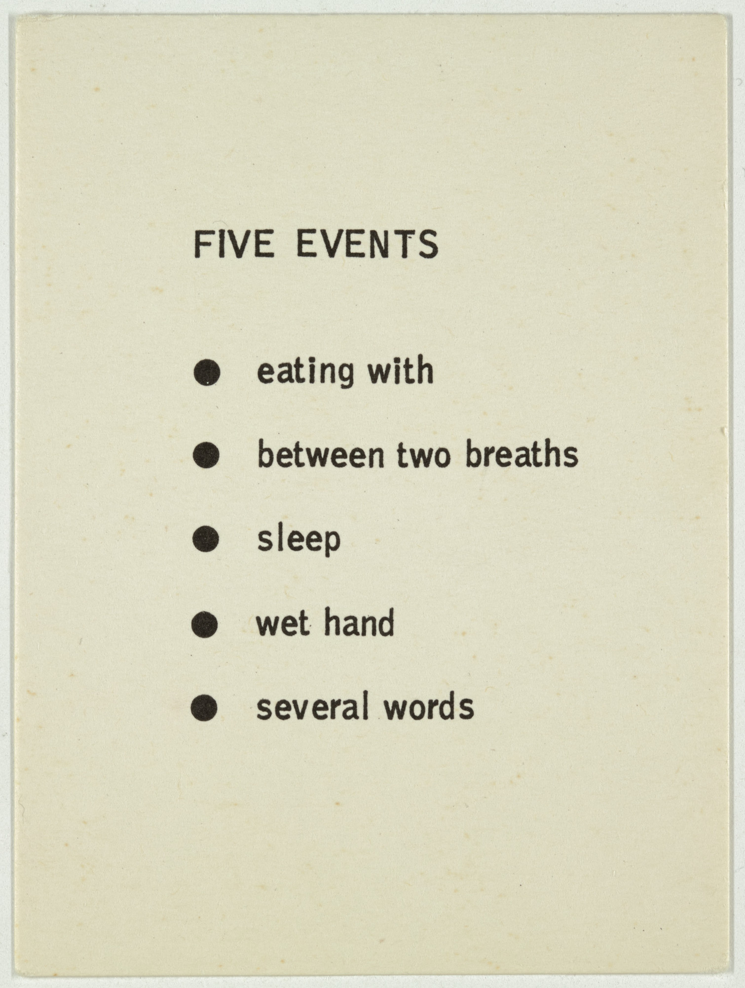 George Brecht. Five Events from Water Yam. 1963