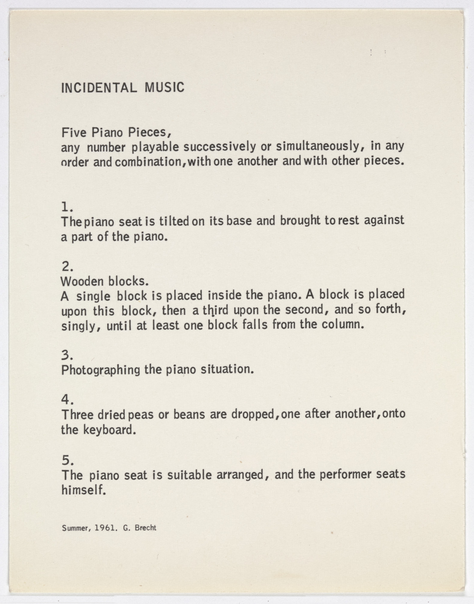 George Brecht. Incidental Music from Water Yam. 1961